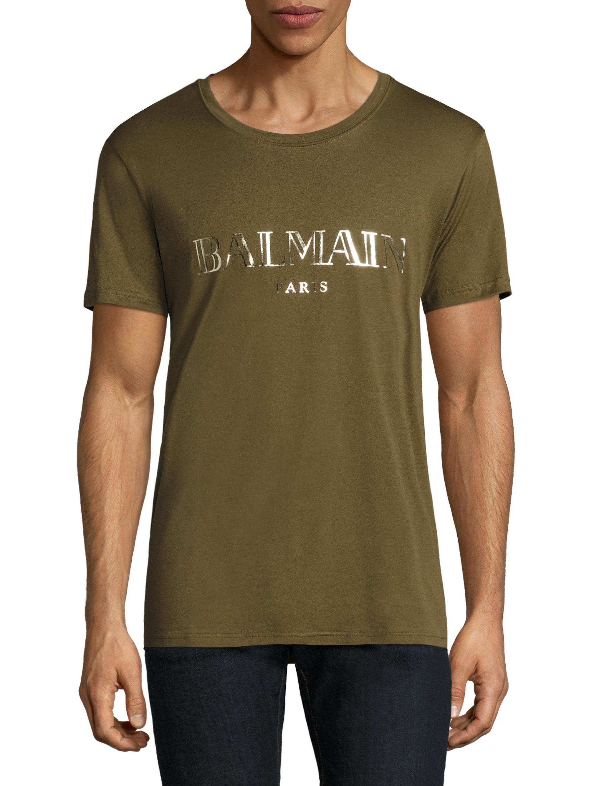 2a229cd6 Balmain Mylar Logo Tee in Green for Men - Lyst