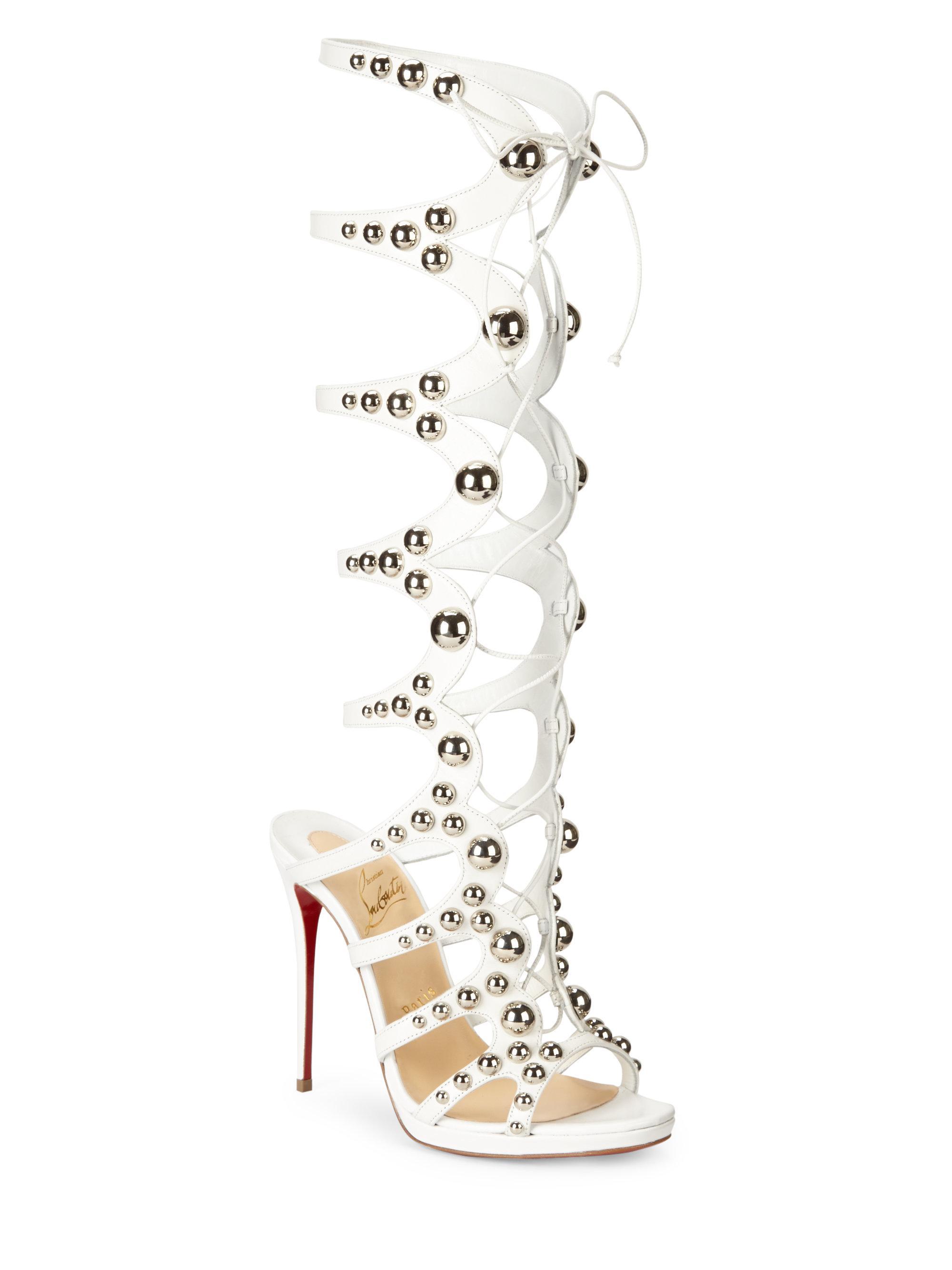 22c8068ff8c4 Christian Louboutin Amazoutiful Knee-high Leather Gladiator Heels in ...
