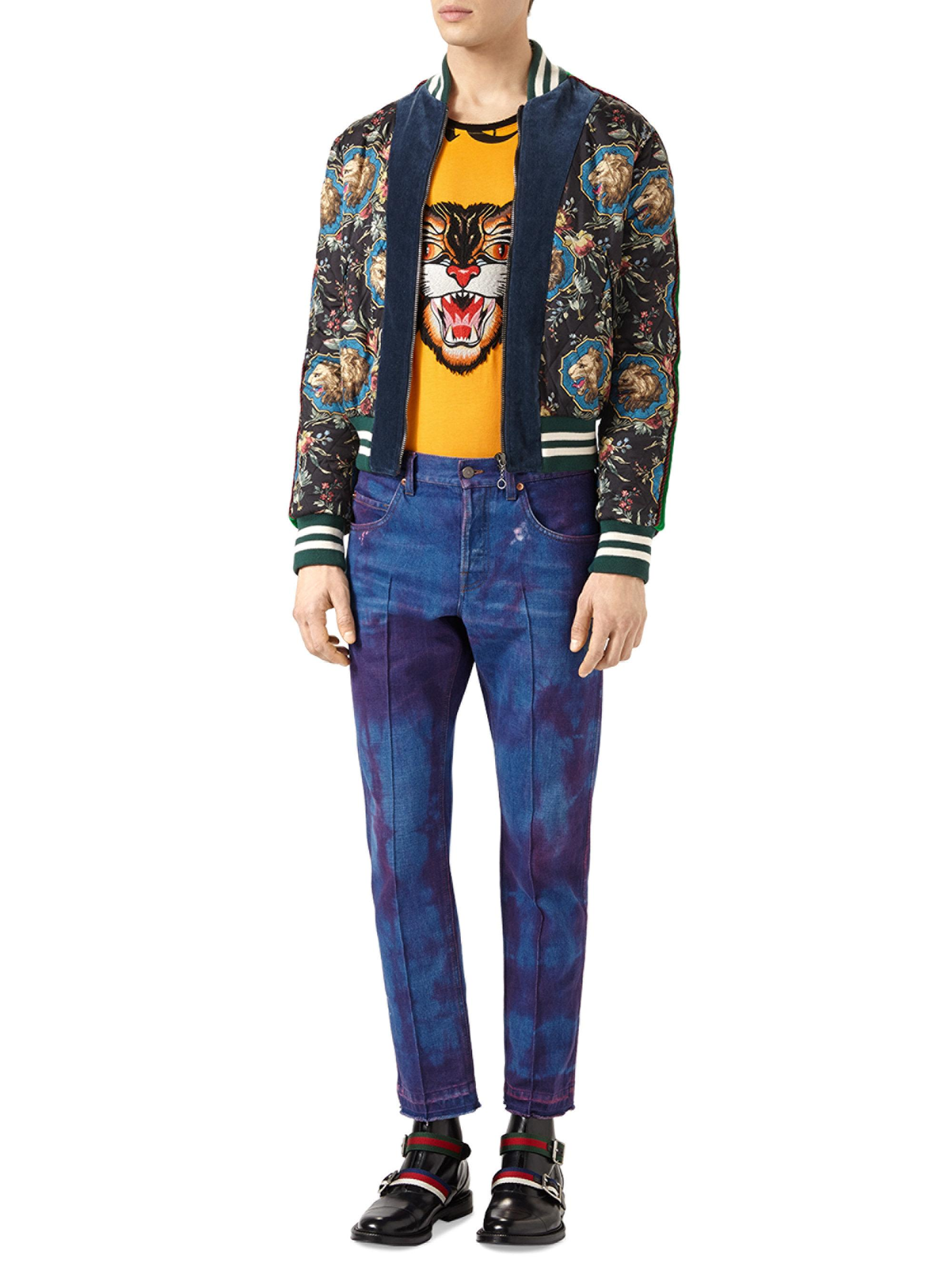 334c278e0 Gucci Black Grotesque Garden-print Silk Bomber Jacket for men