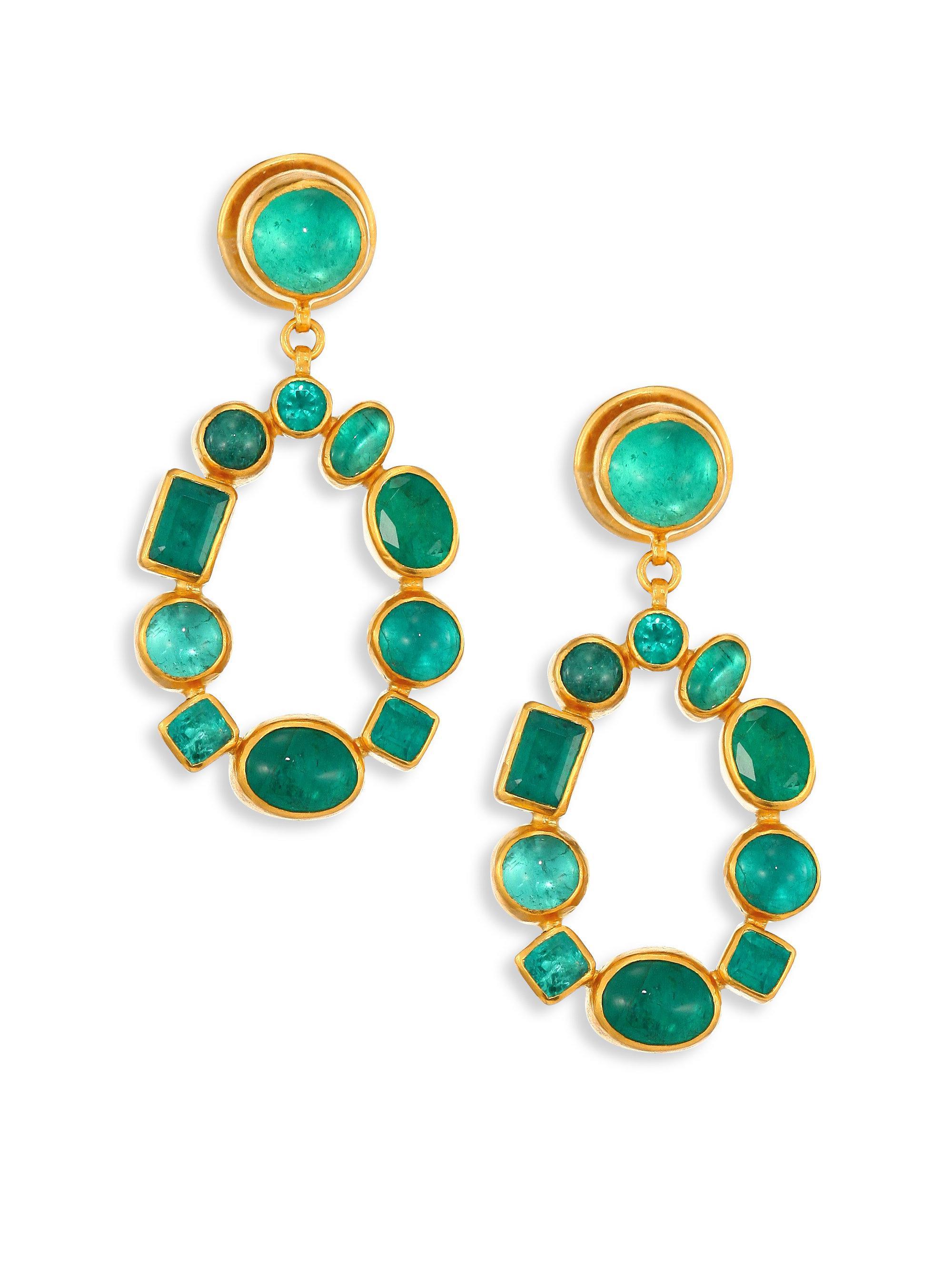 Gurhan 24k Emerald Teardrop Earrings CdZfWVZxPB