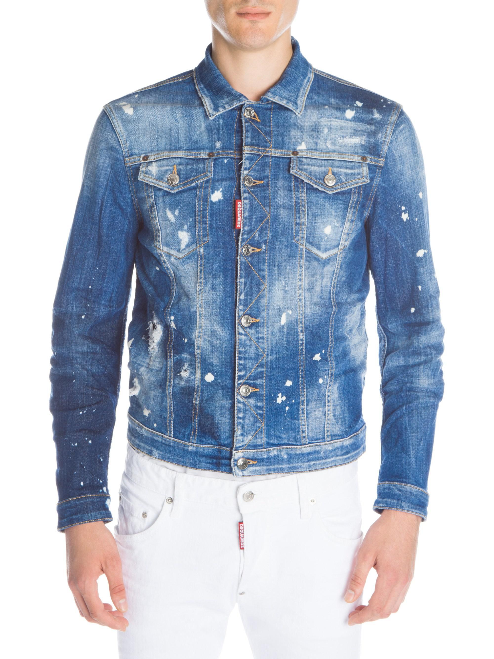 c974d449ba5530 Lyst - Dsquared² Paint Splatter Denim Jacket in Blue for Men