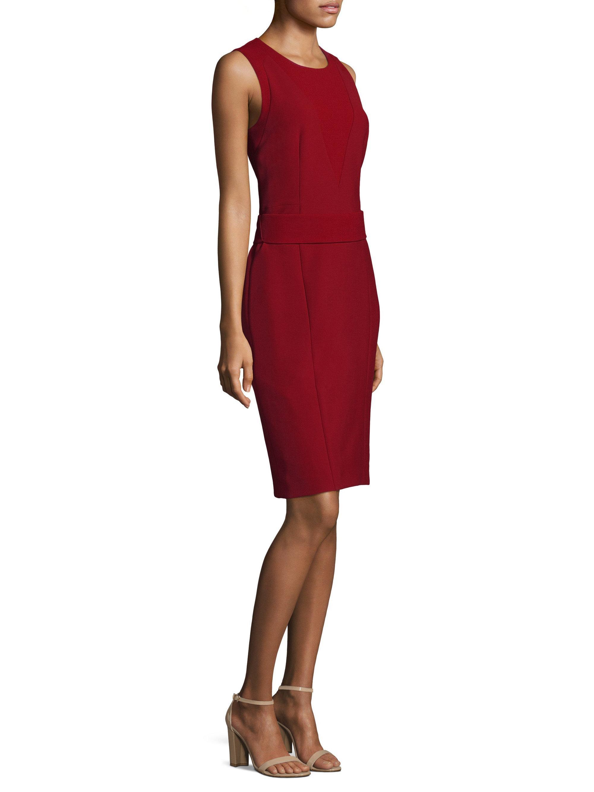 Lyst boss dirasana sheath dress in red for Saks fifth avenue wedding guest dresses