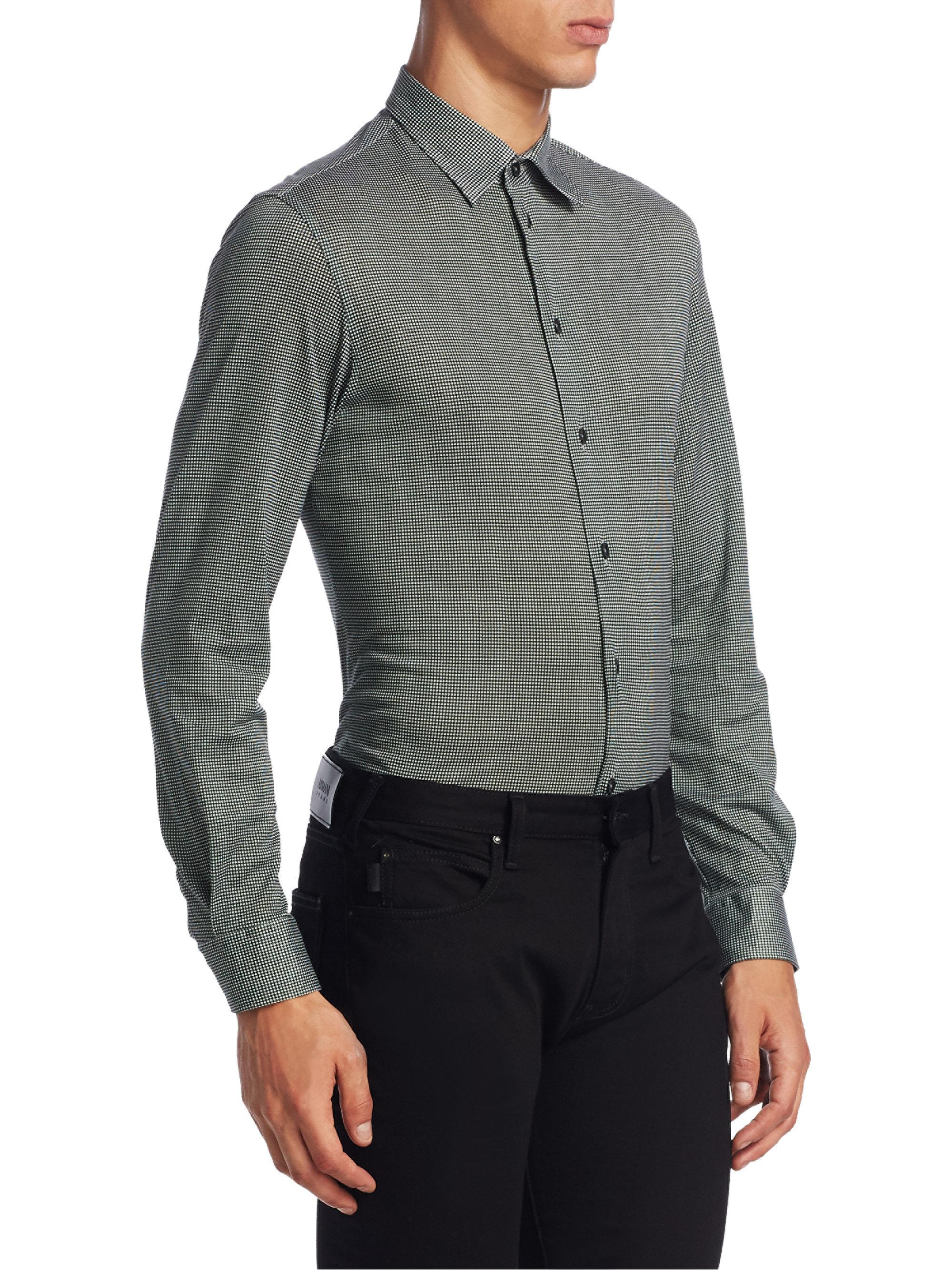 Lyst armani jersey cotton button down shirt in gray for men for Cotton button down shirts men