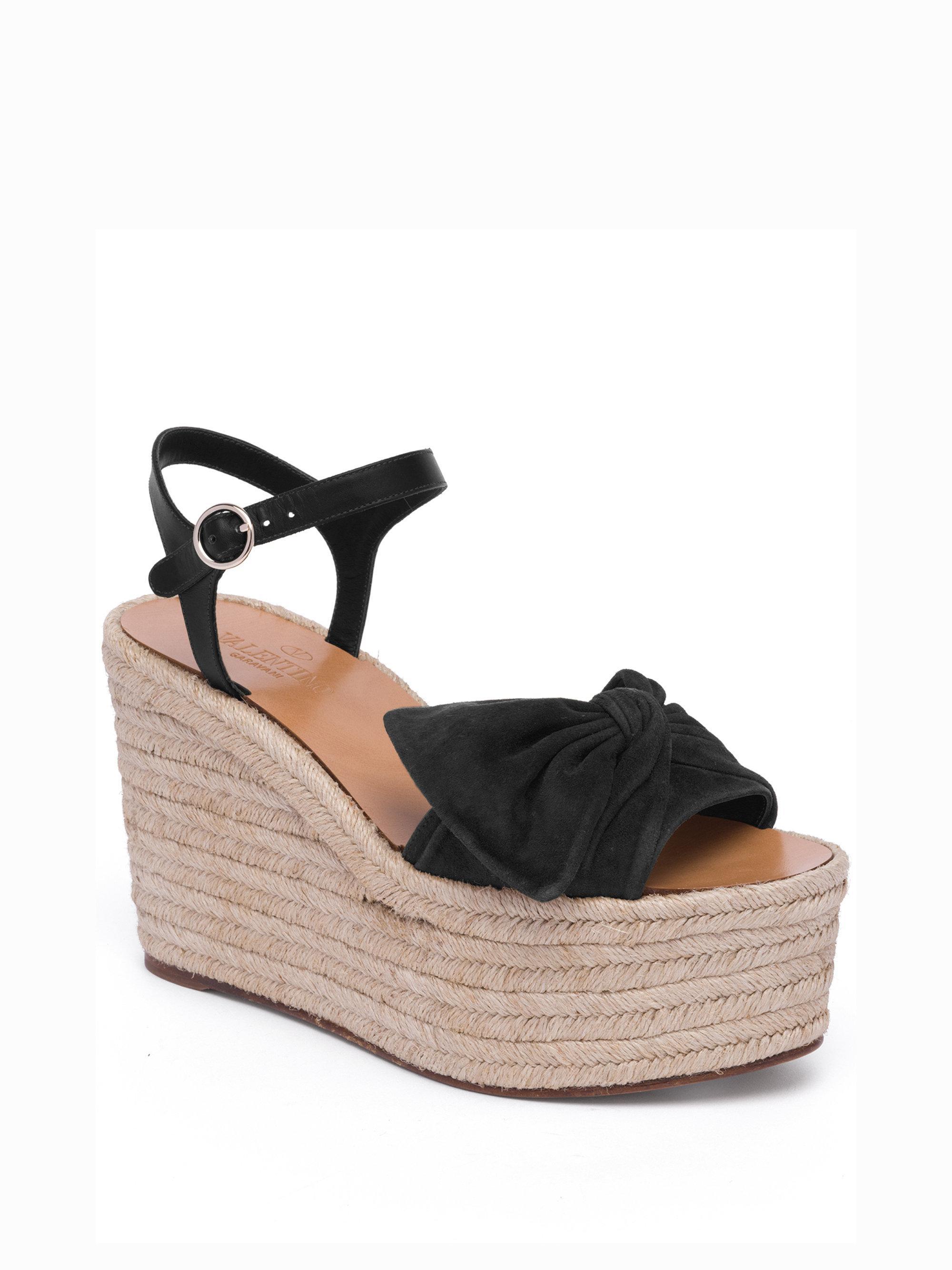 1a94a4036c4 Women's Black Tropical Bow Suede Espadrille Wedge Platform Sandals