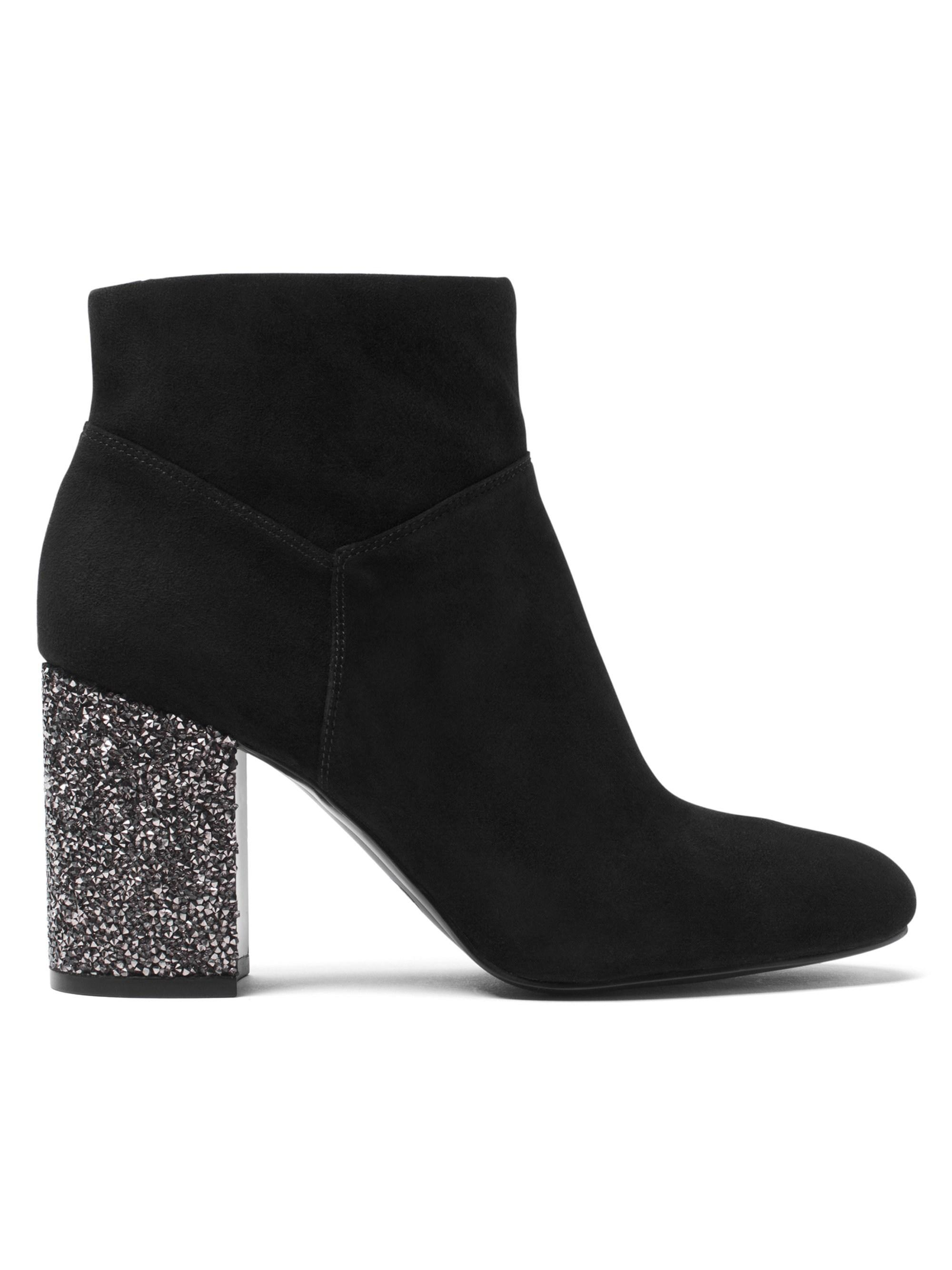 black boots with glitter heel
