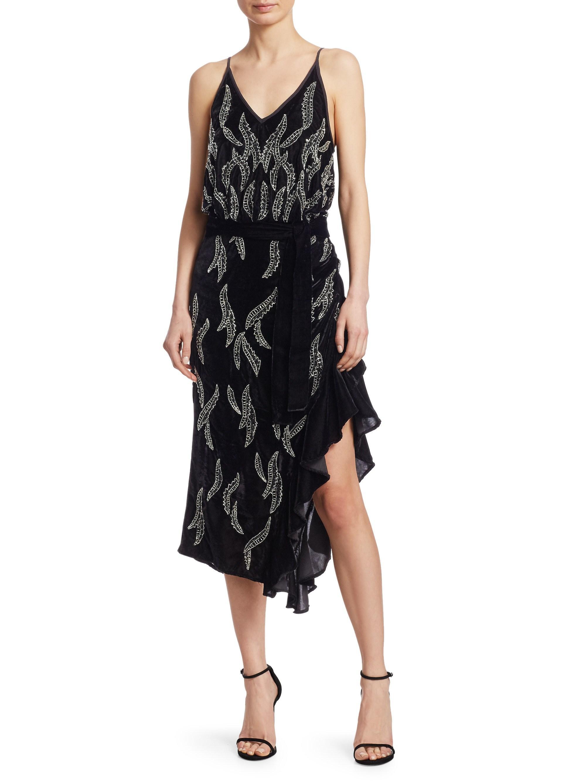 208082f160 Dodo Bar Or Agenes Embellished Chiffon Midi Dress in Black - Lyst