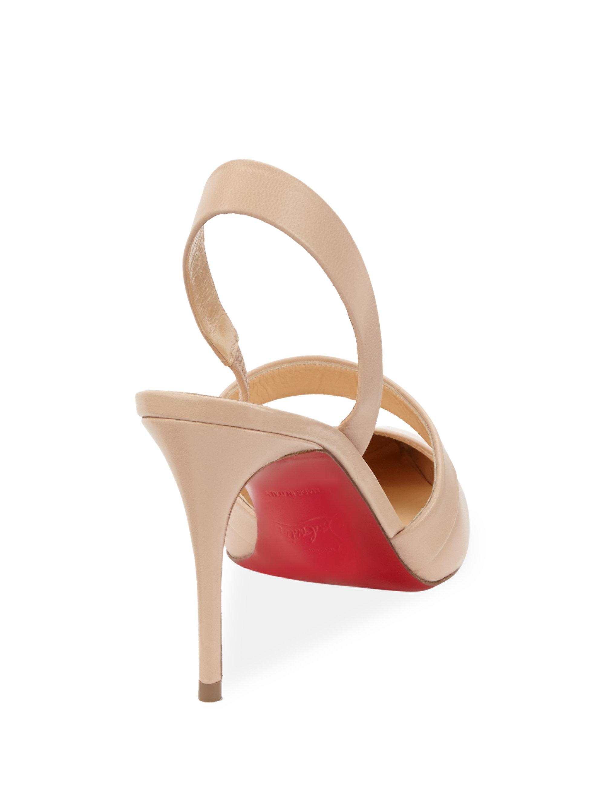online store 301c7 625e2 Christian Louboutin Natural Actina 85 Nappa Leather Slingback Pumps