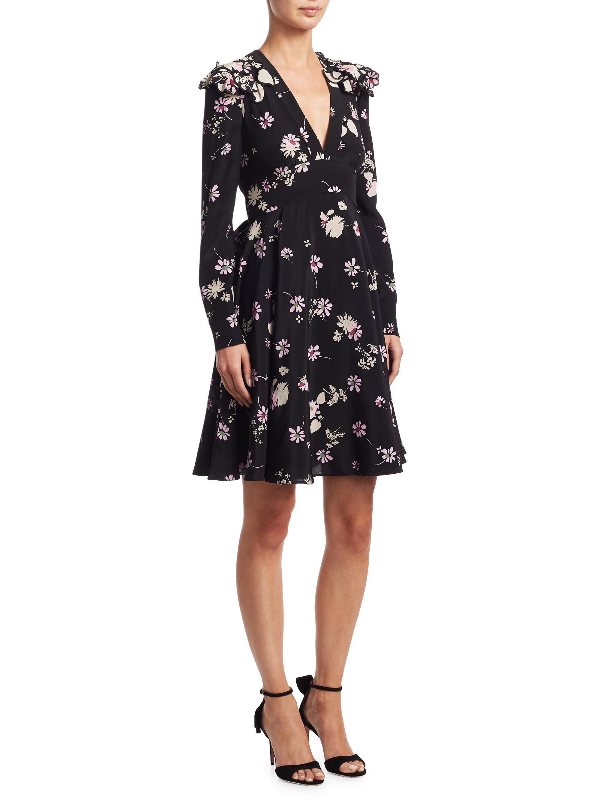 Valentino Flowers Fall Silk V Neck Dress In Black Lyst