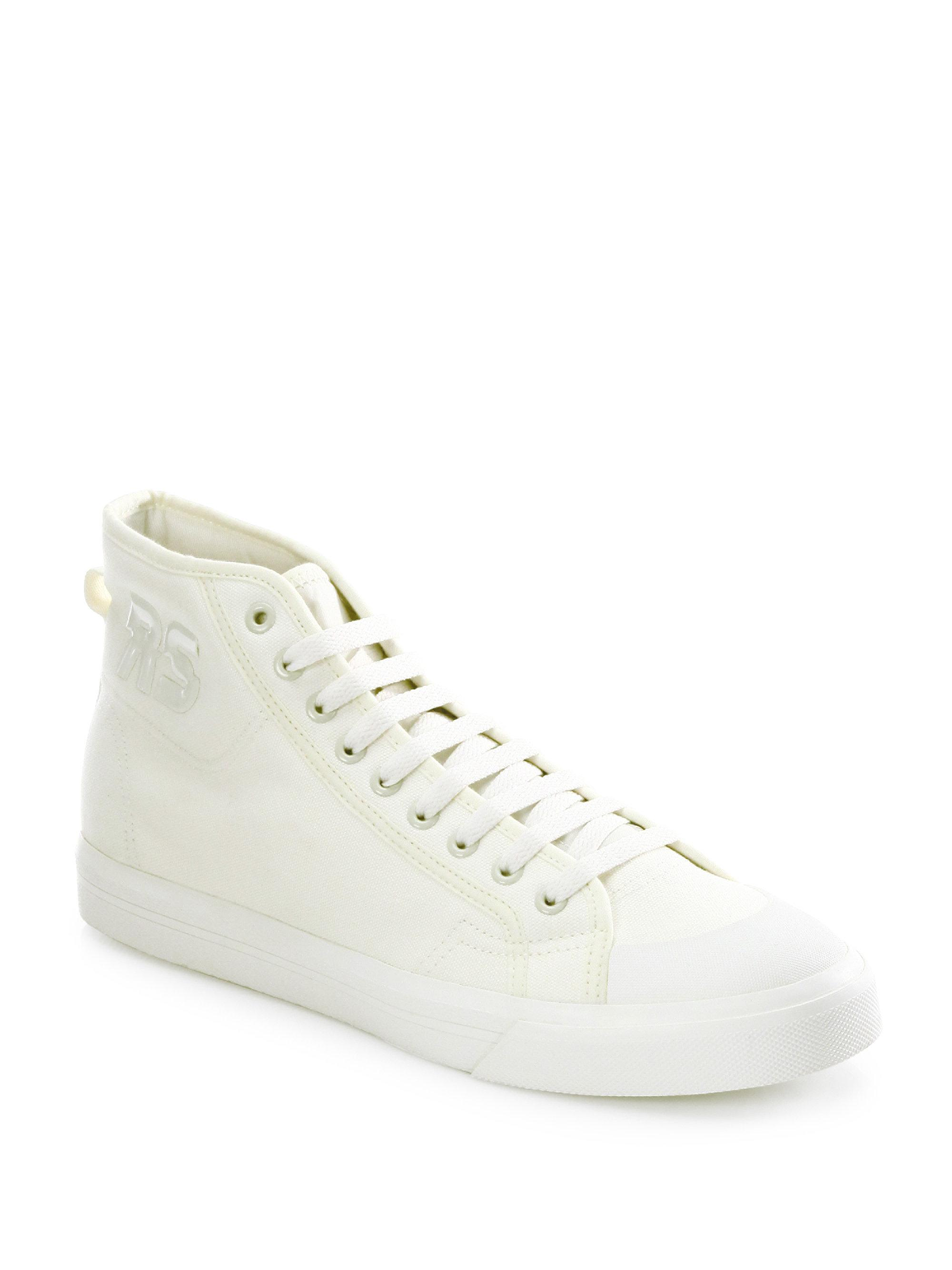 adidas By Raf Simons. Women's White Spirit Canvas High-top Sneakers