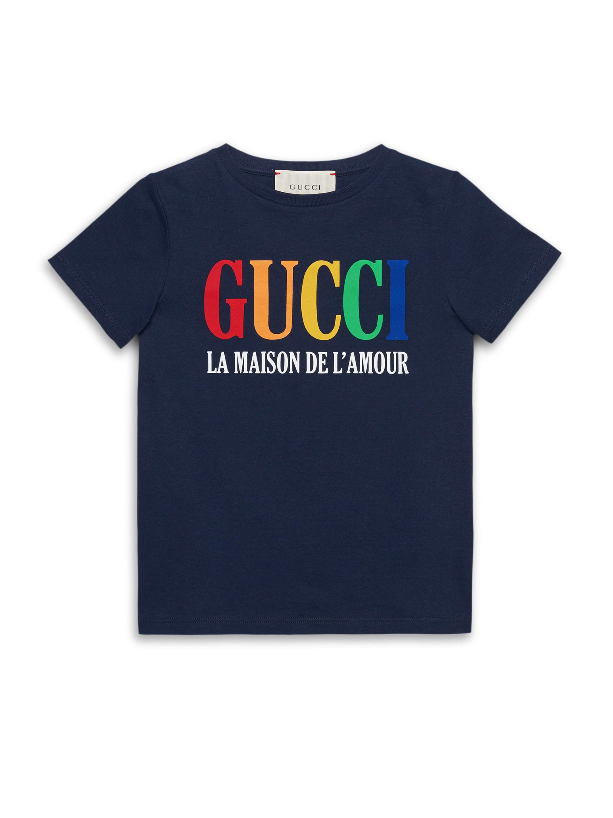 811556bf35e Lyst - Gucci Little Boy s   Boy s Logo Tee in Blue for Men