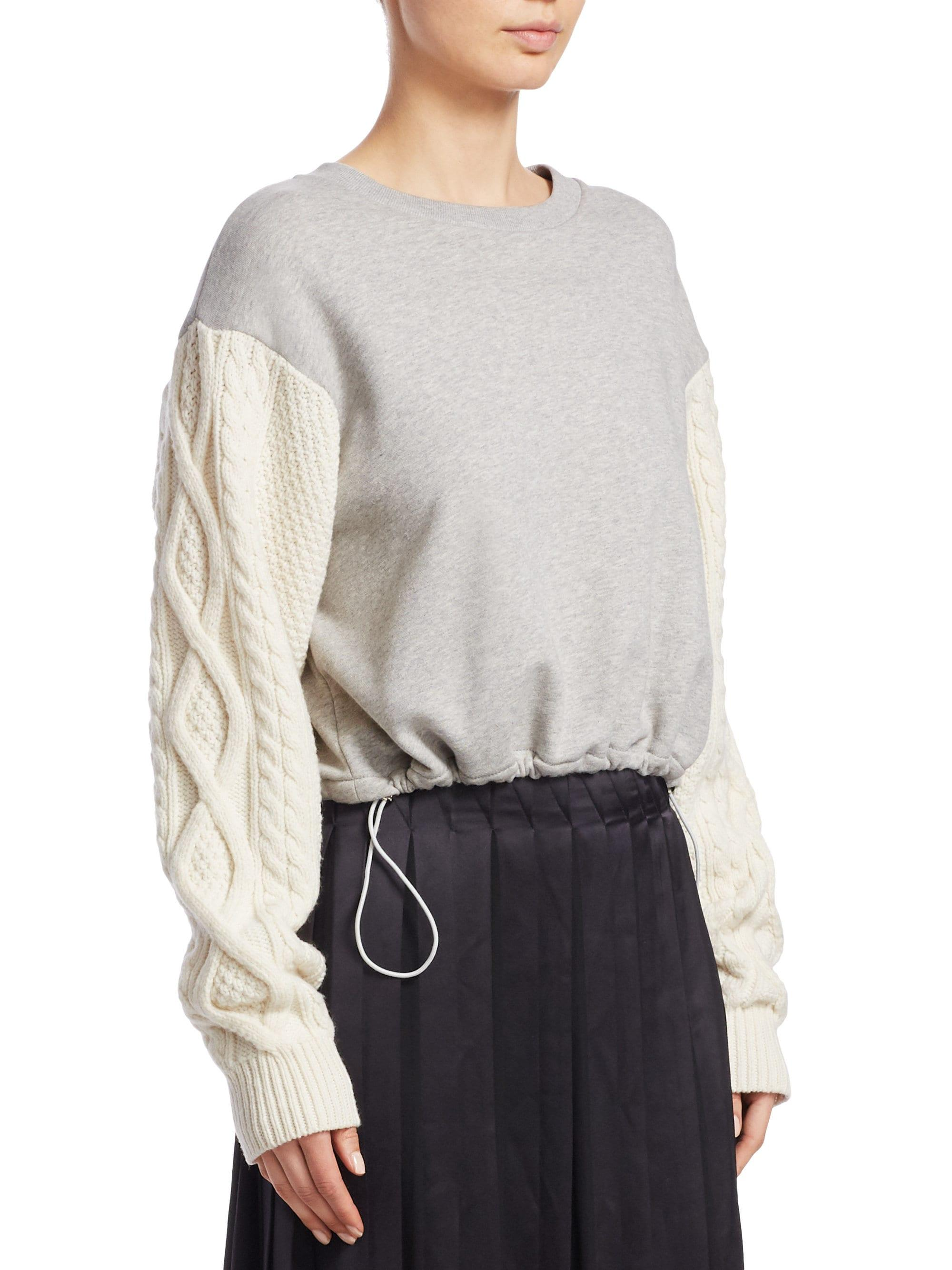 df72544f3bc61d 3.1 Phillip Lim French Terry Crewneck Sweatshirt With Cable-knit ...