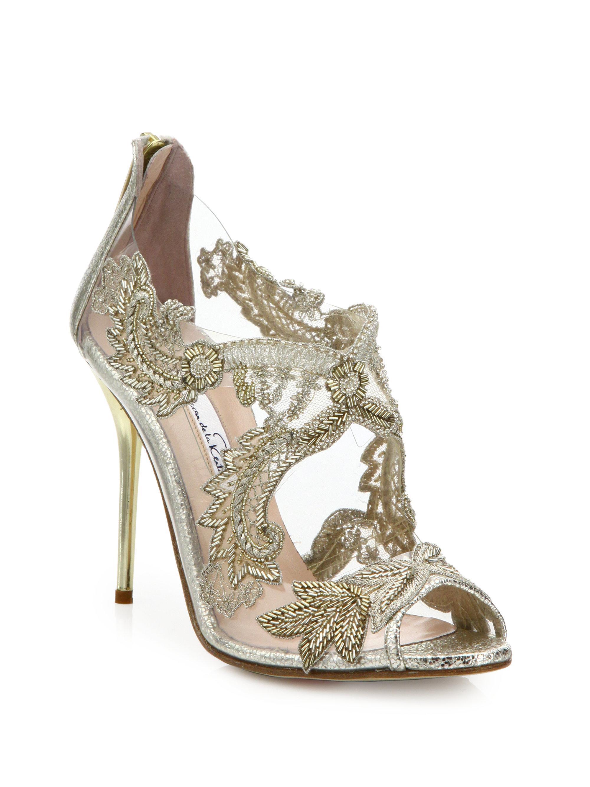 rhinestone embellished sandals - Metallic Oscar De La Renta Ve6zduhE