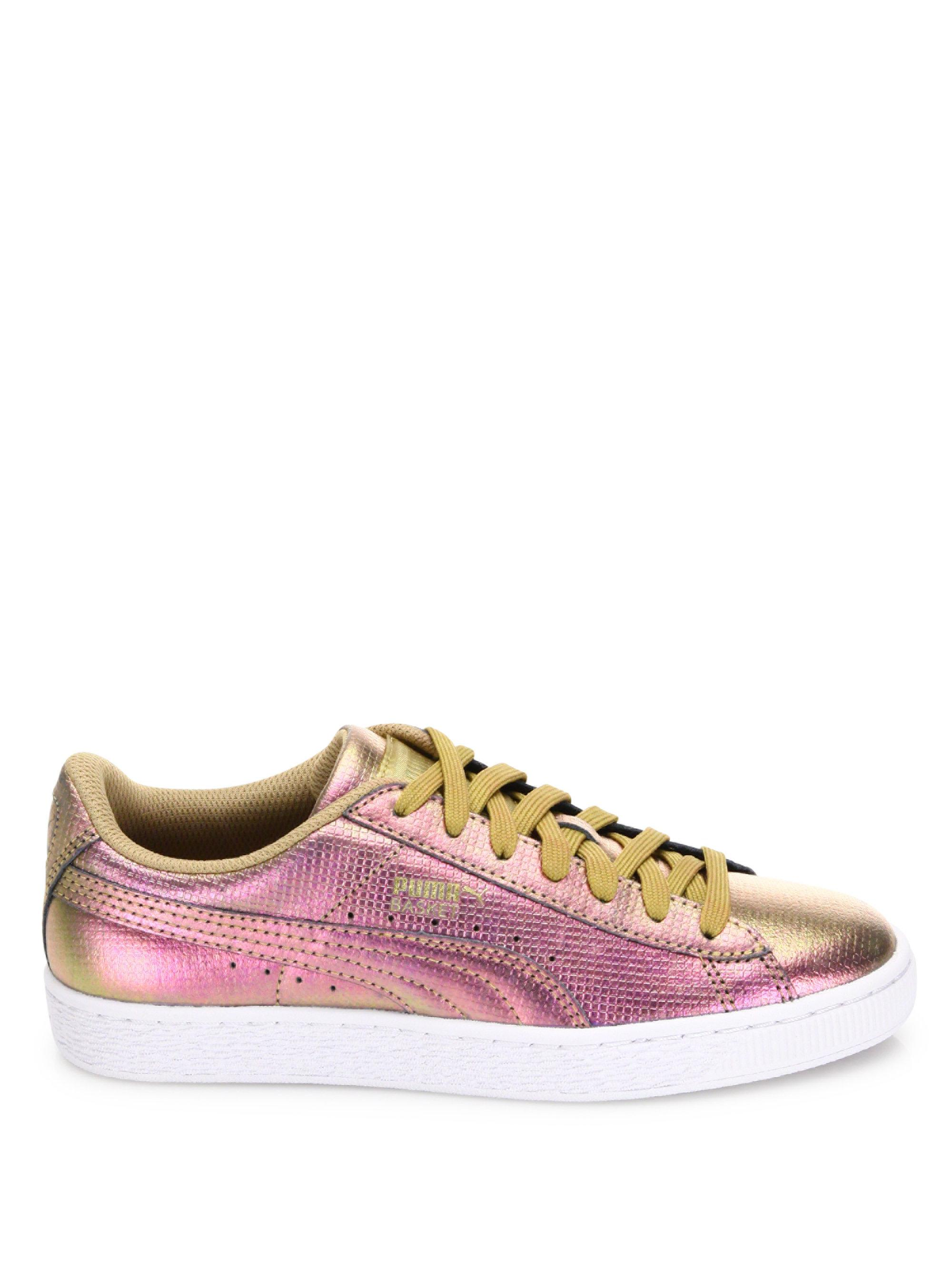 acd686961eb Lyst - PUMA Basket Holographic Leather Sneakers