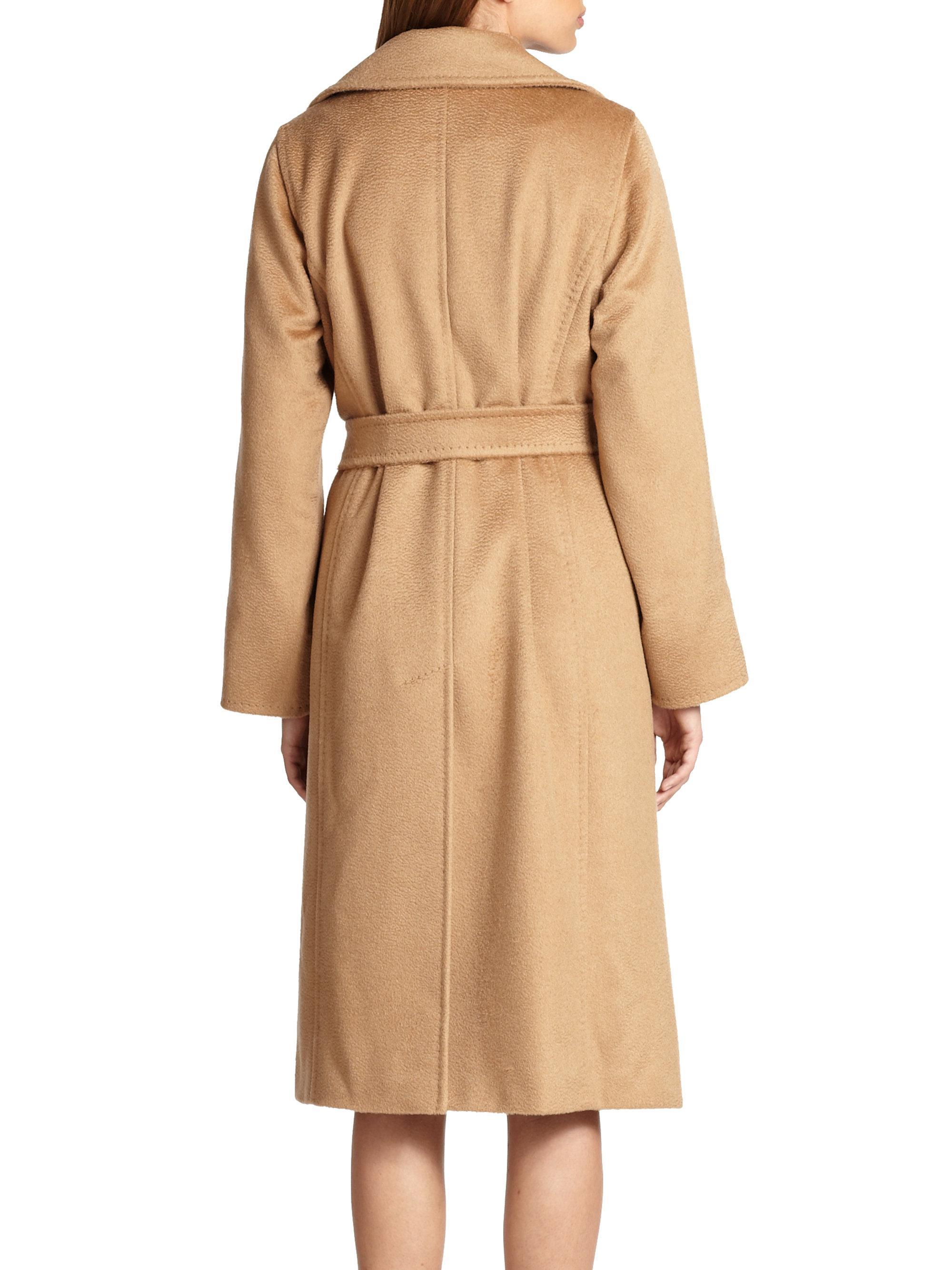 Max Mara Manuel Camel Hair Wrap Coat In Natural Lyst
