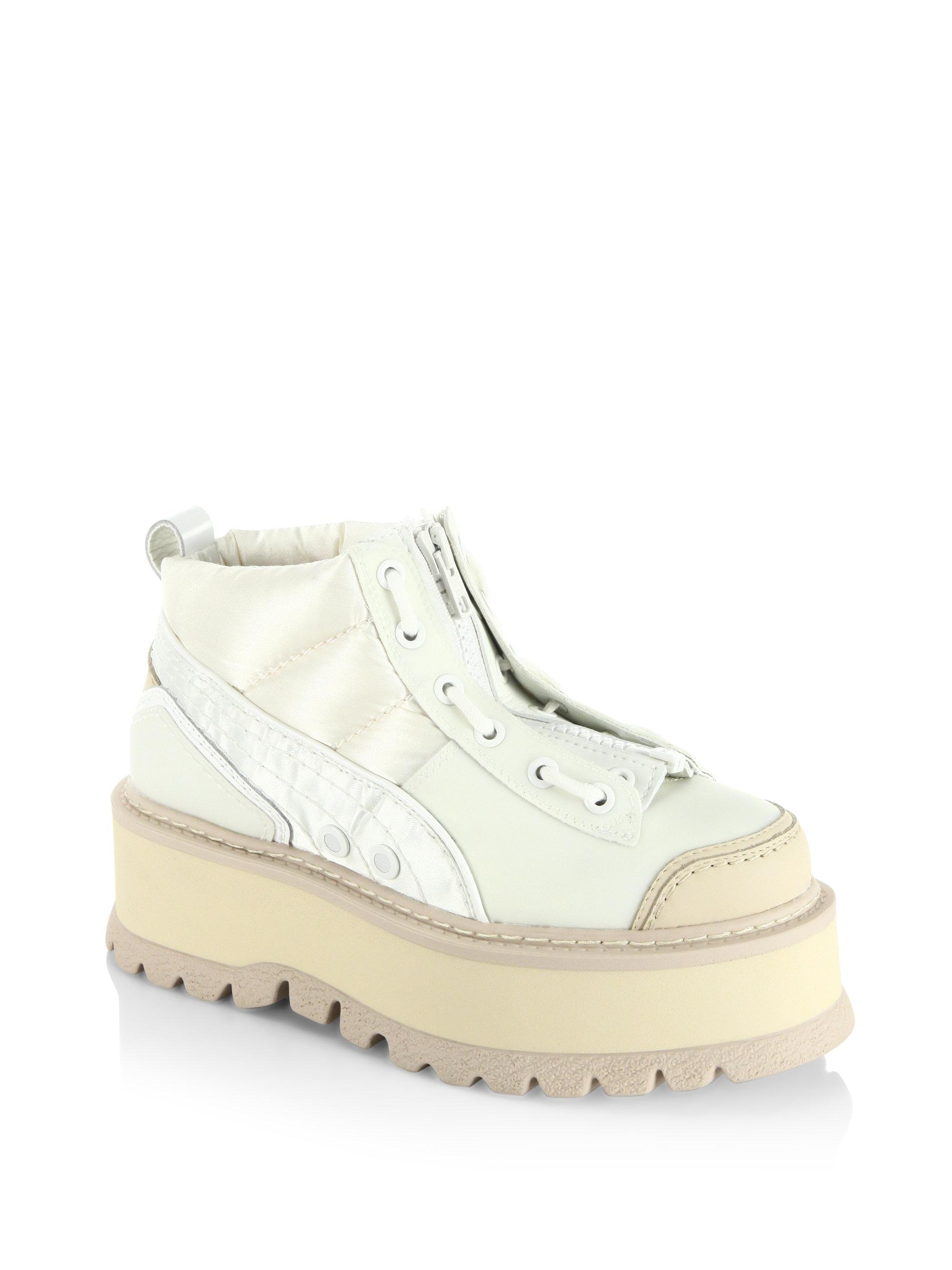 4341092314a412 Lyst - PUMA Fenty By Rihanna Leather Platform Sneaker Boots in White