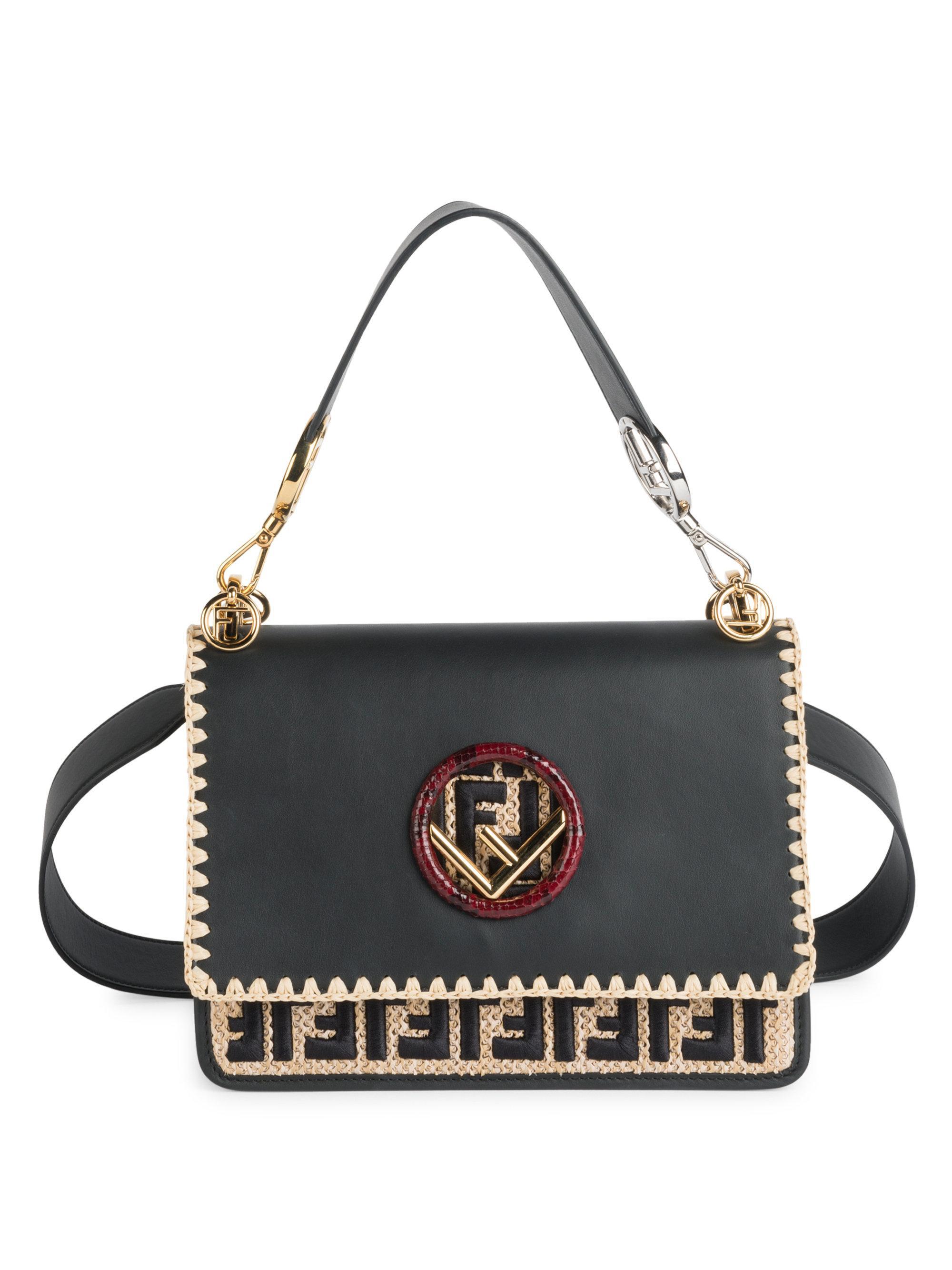 7619996c9f39 Fendi Kan I Rafia Logo Messenger Bag in Gray - Lyst