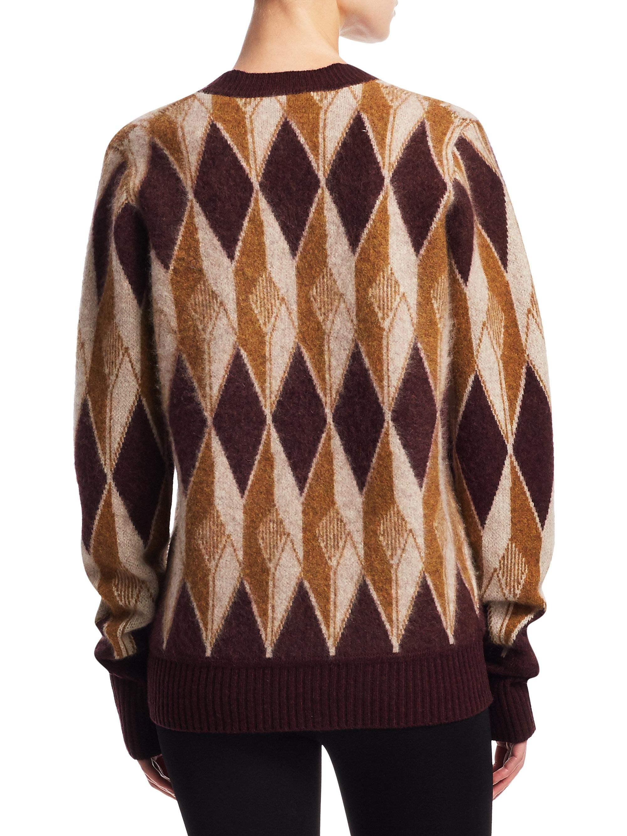 Marc jacobs Patterned Cashmere Cardigan in Purple | Lyst