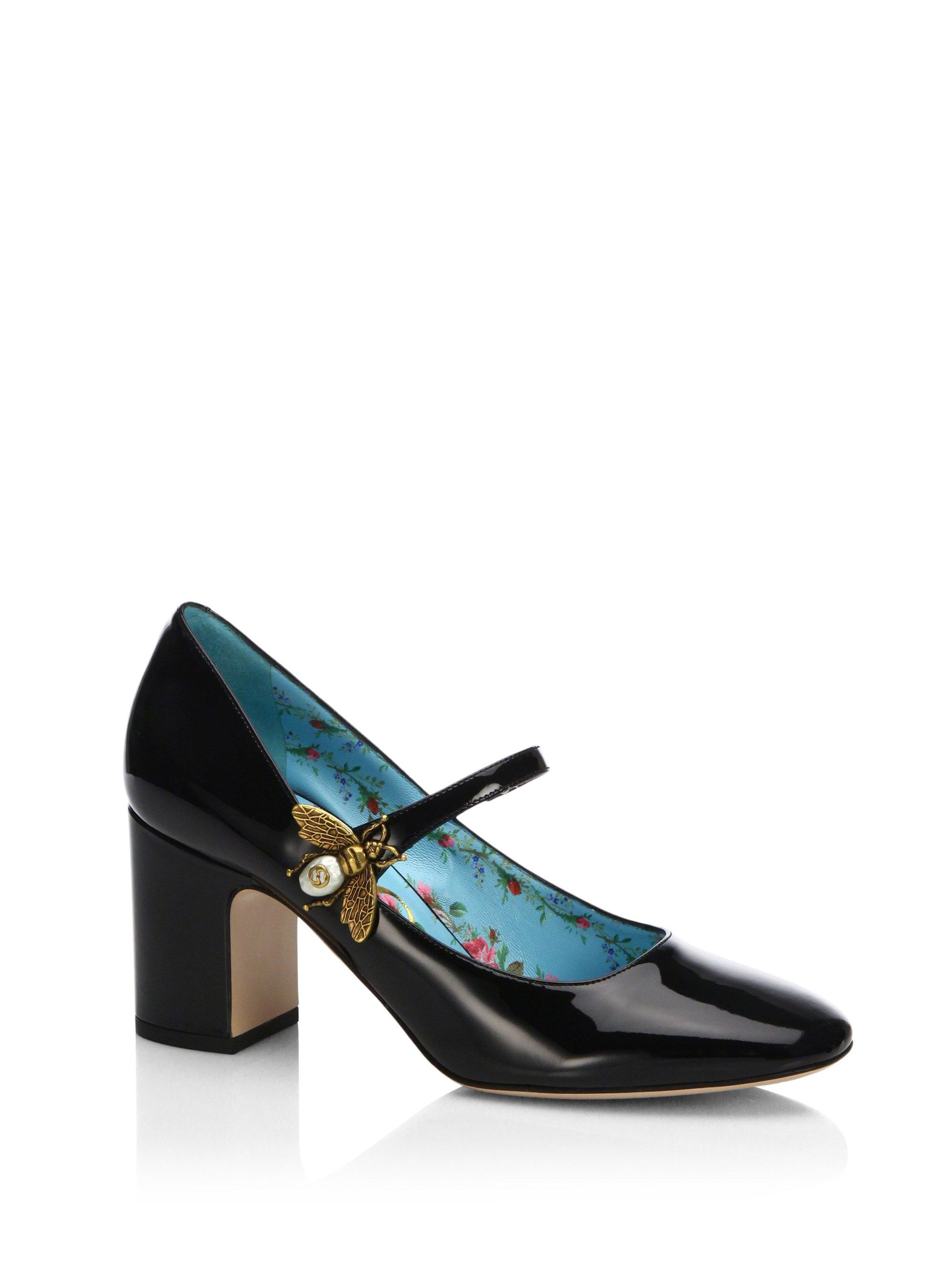 a3a08841e03 Lyst - Gucci Lois Patent Leather Mary Jane Pumps in Black
