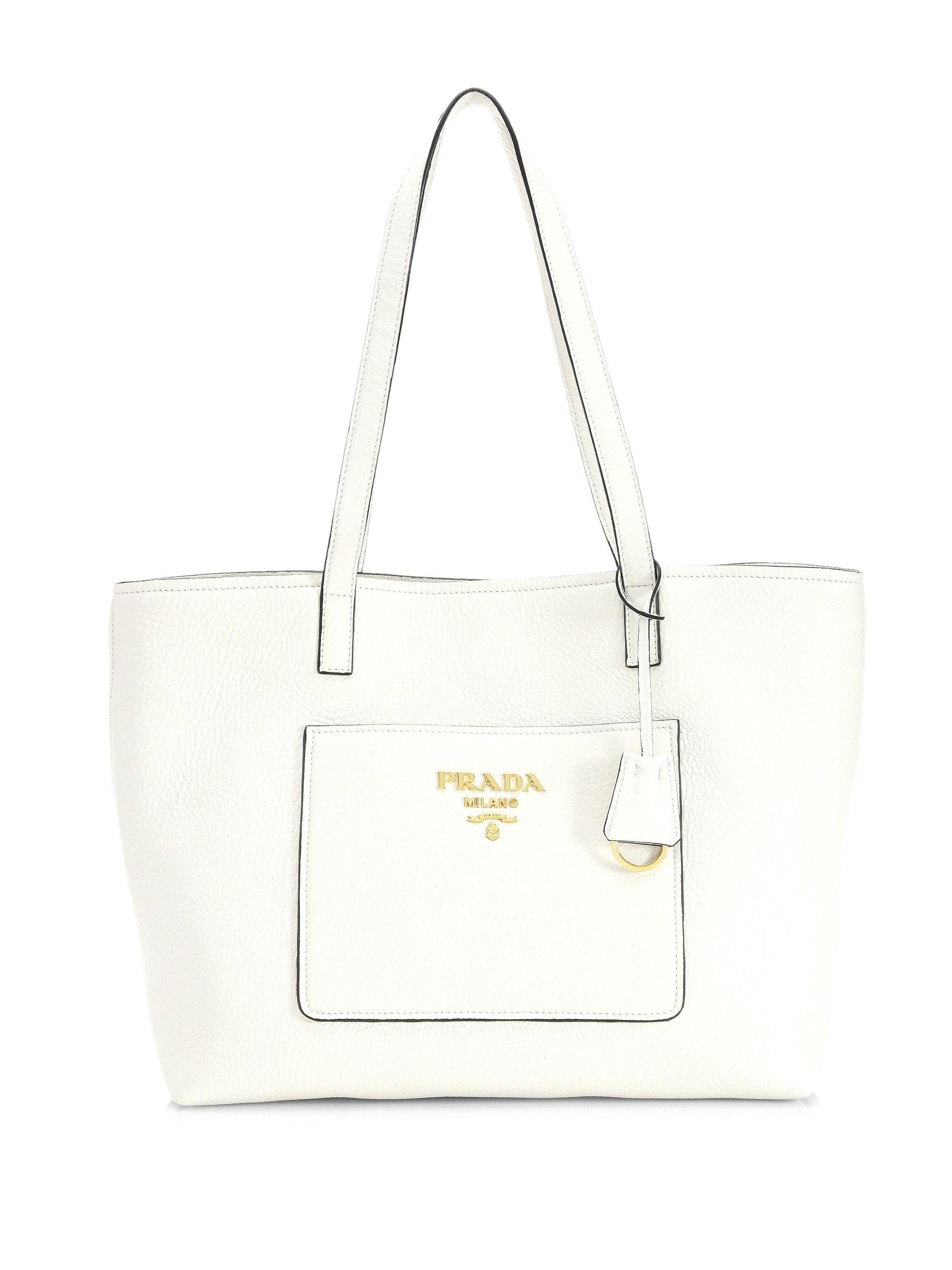 36af5088a7fa Prada Large Daino Leather Shopper in White - Lyst