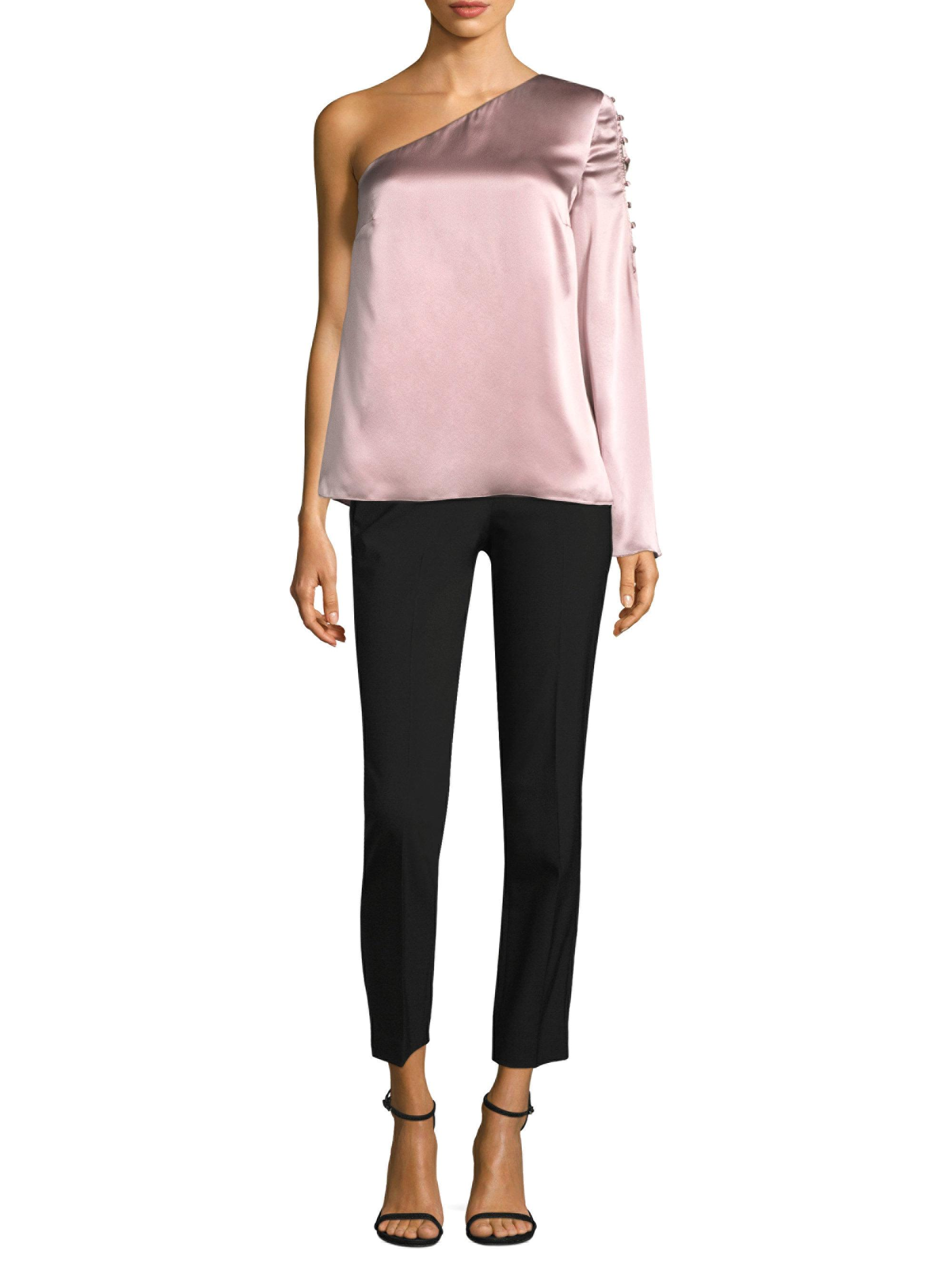 aa40ad48429d42 Lyst - Parker Ripley One Shoulder Silk Top in Pink