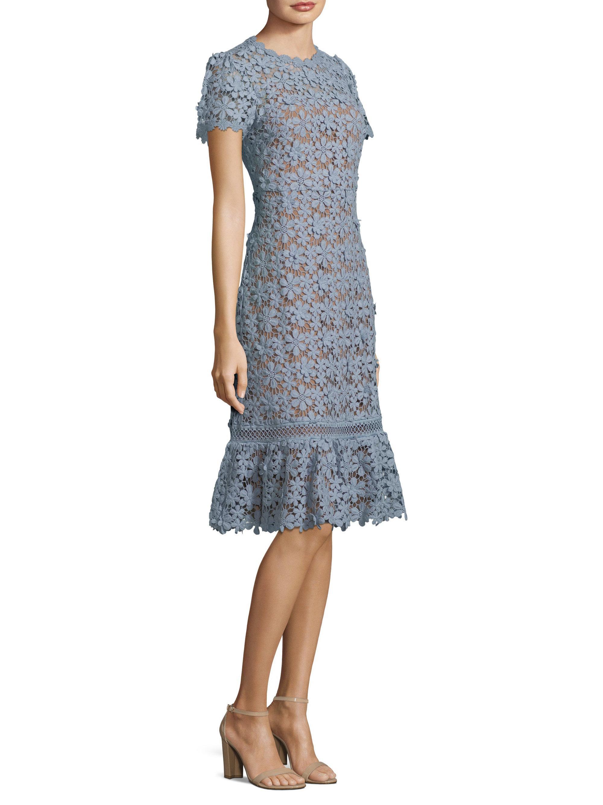 7c8ca810 MICHAEL Michael Kors Floral Lace A-line Dress in Blue - Lyst
