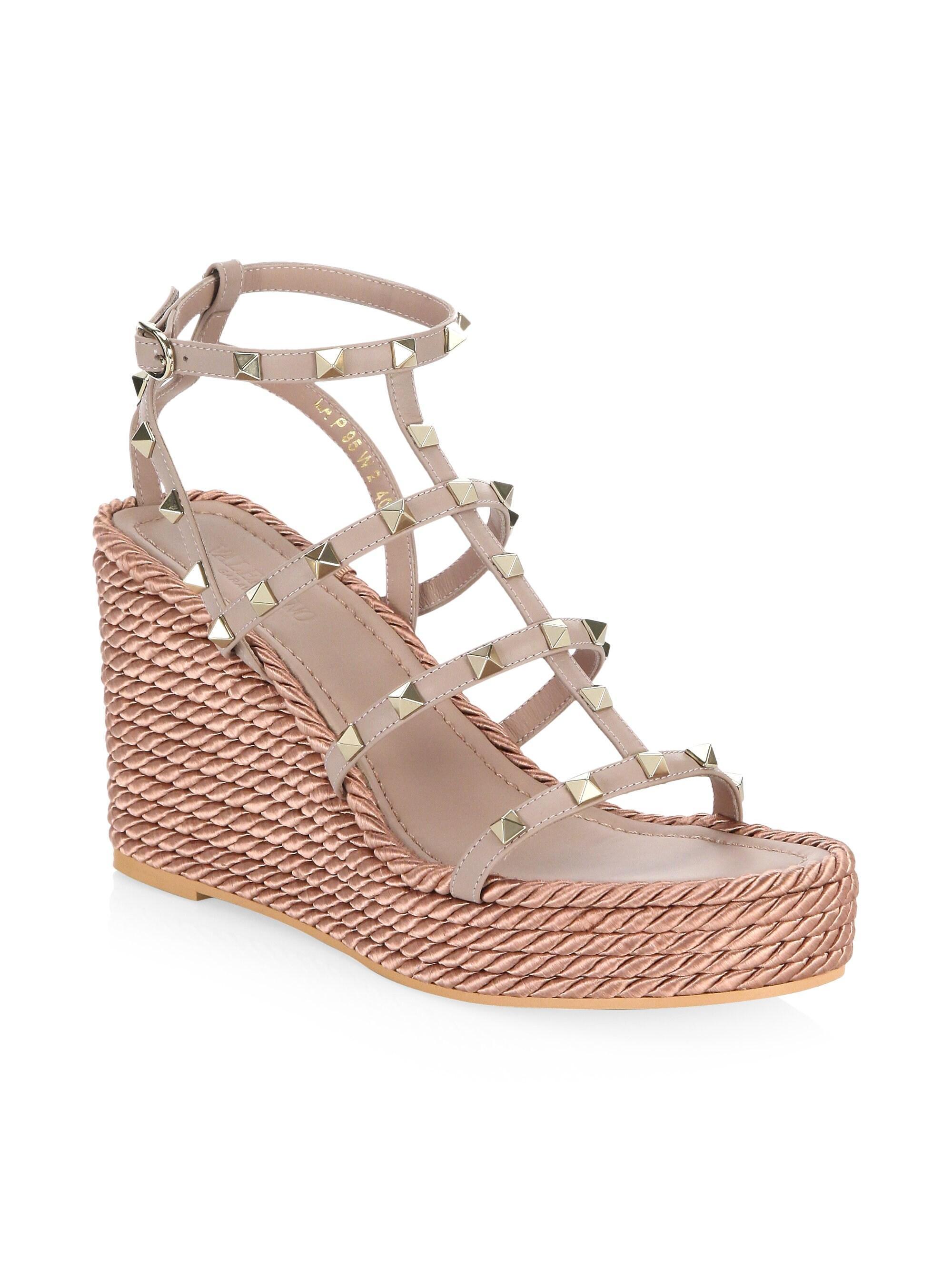 515d71c87a0 Women's Rockstud Leather Espadrille Wedge Sandals