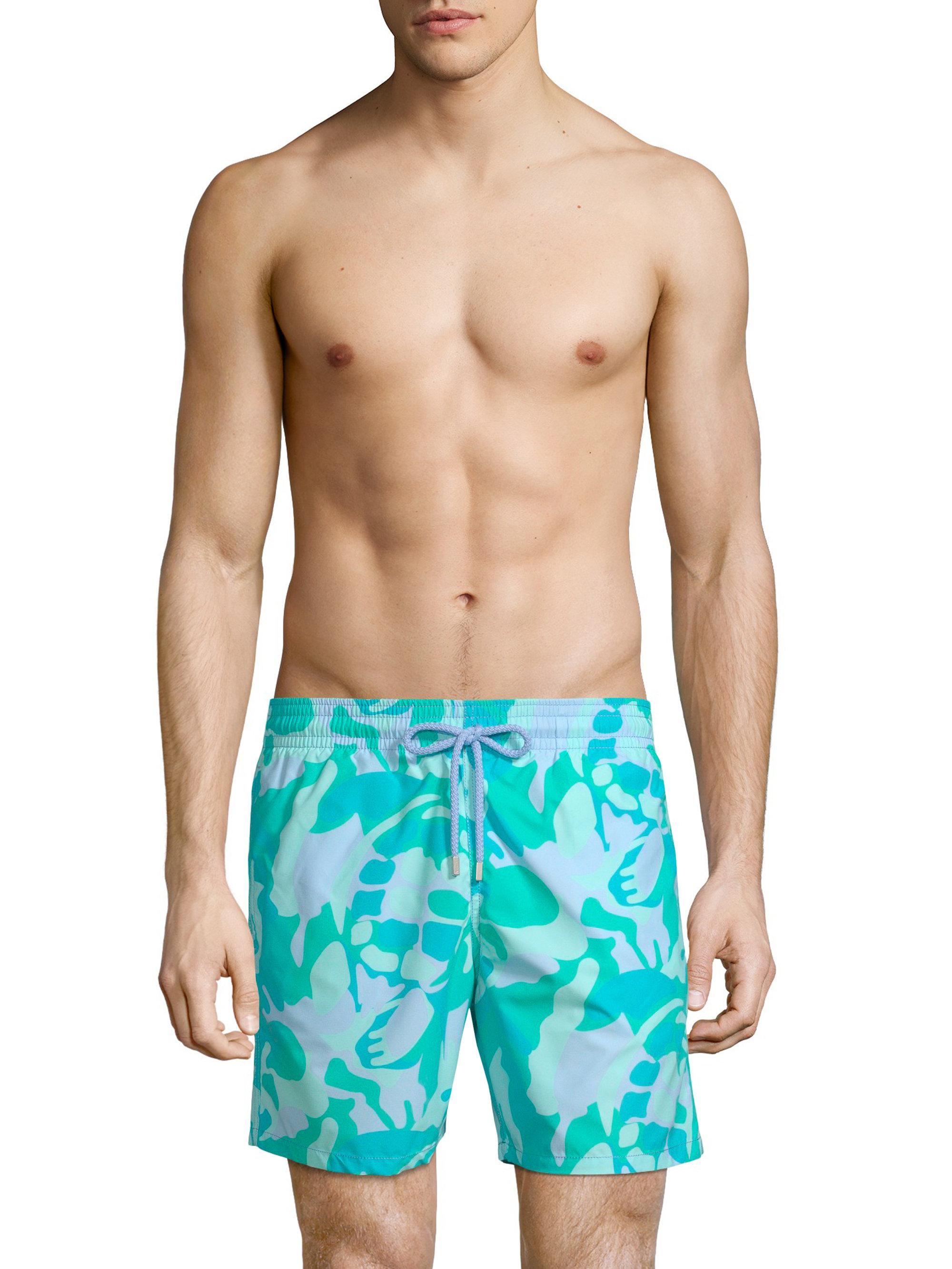 238aea7f5f Vilebrequin Camouflage Turtle Swim Trunks in Blue for Men - Lyst