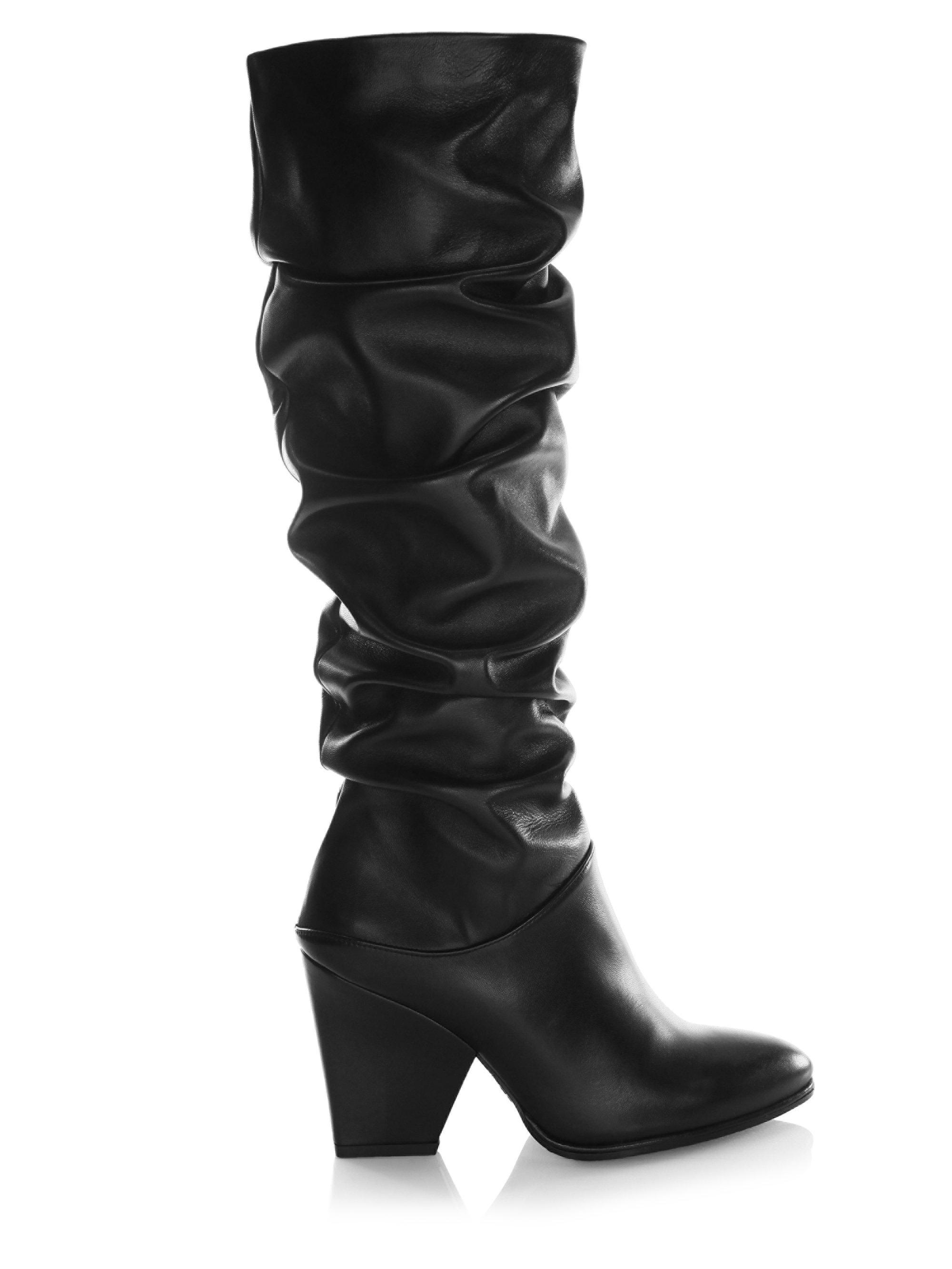 f62d39f538a Stuart Weitzman Women s Smashing Leather Scrunched Leather Tall ...