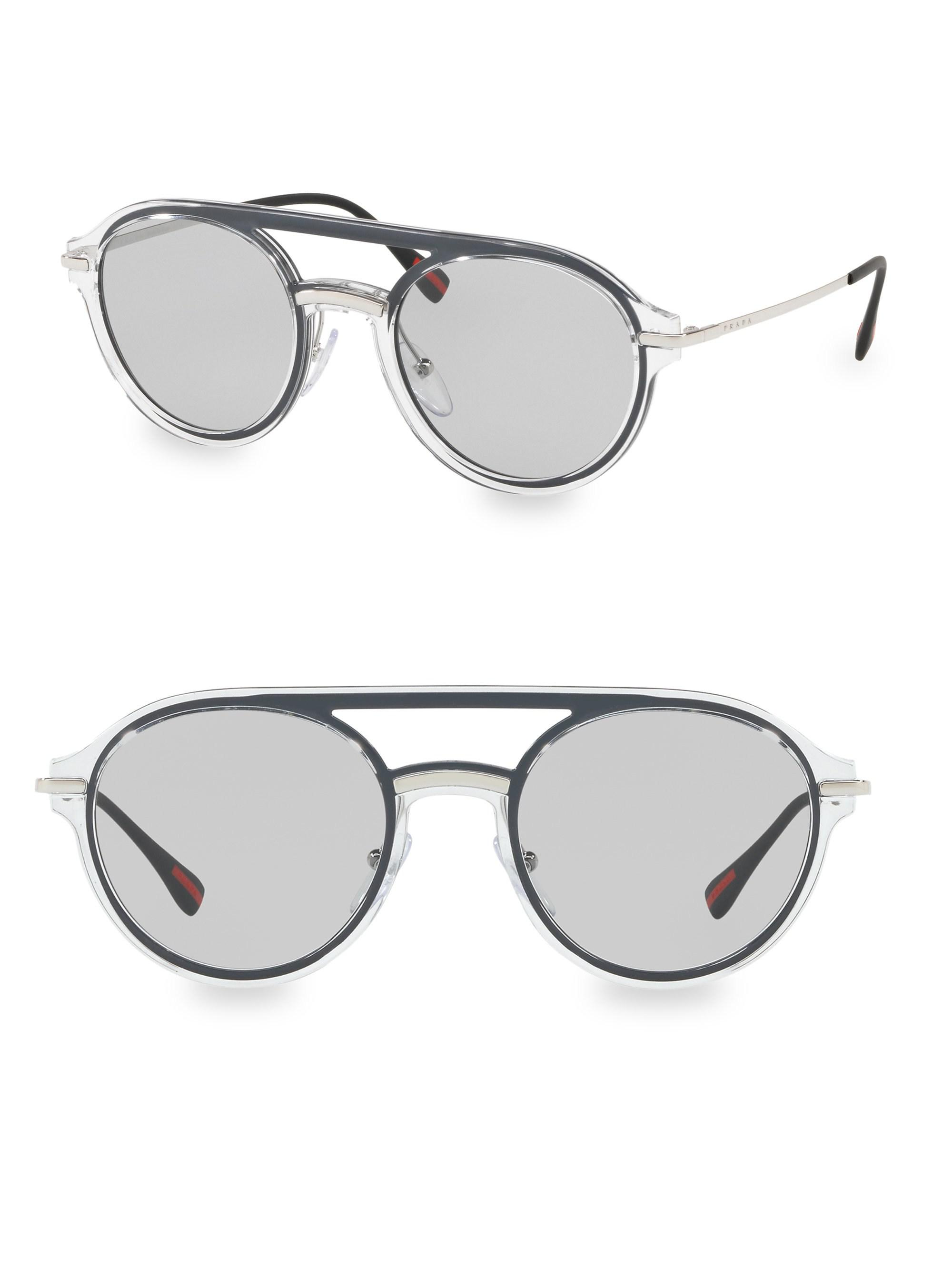 1e6596bfb1 Prada 51mm Linea Rossa Oval Aviator Sunglasses in Metallic for Men ...