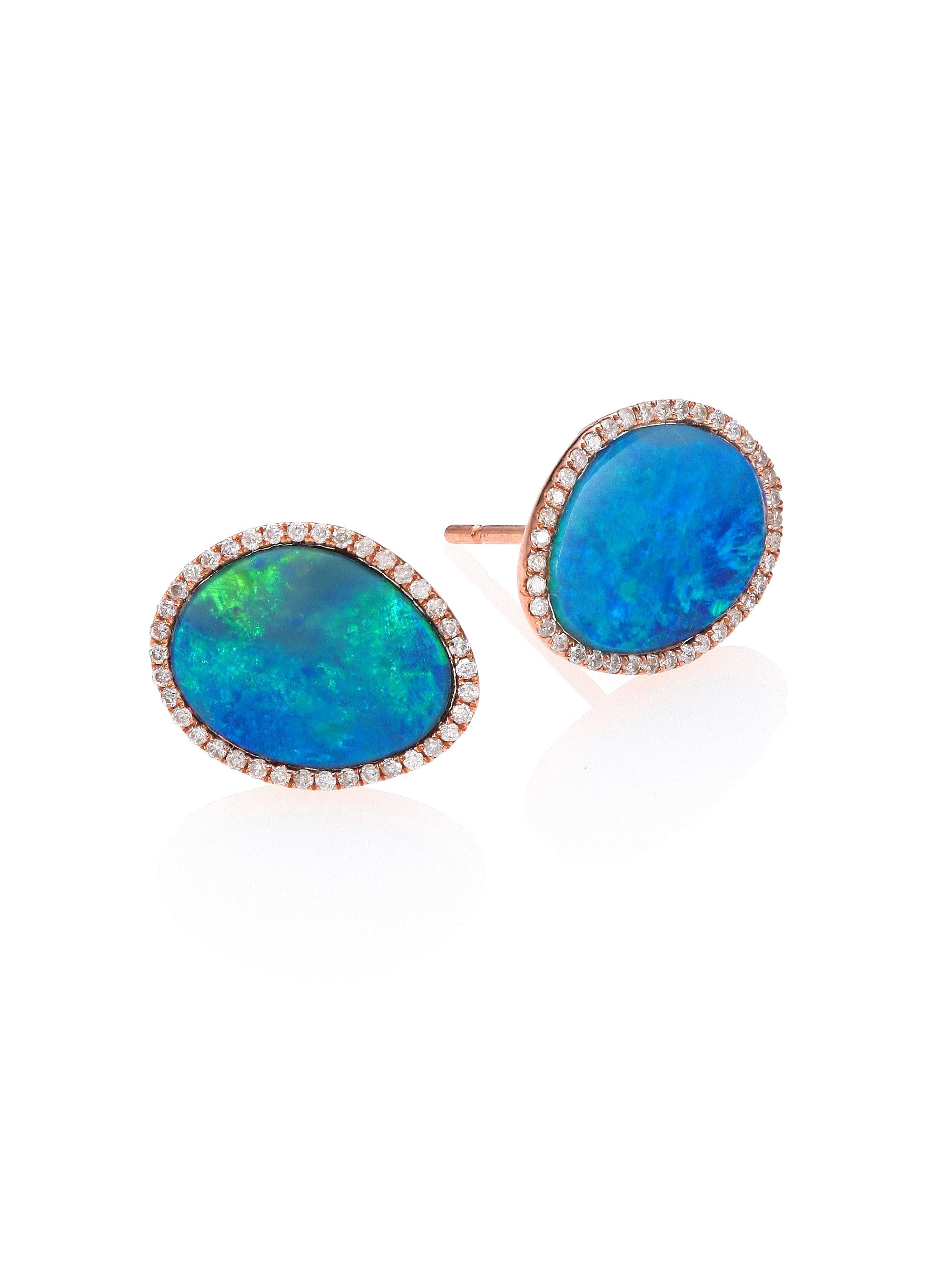 stud t blue meira view diamond gold in lyst rose fullscreen opal earrings jewelry