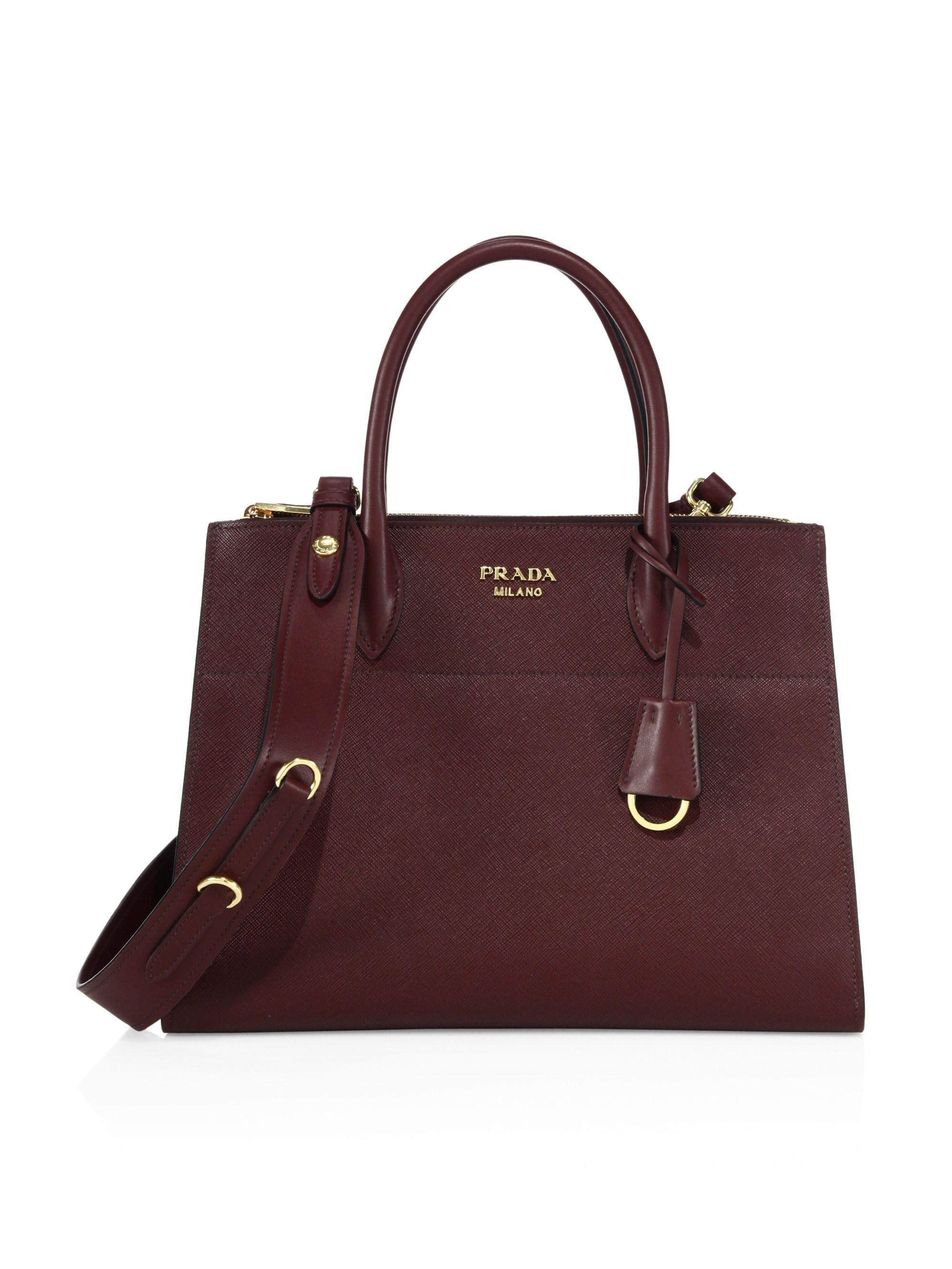 67a413f4f466 Lyst - Prada Women's Paradigme Saffiano Leather Satchel - Nero in Purple