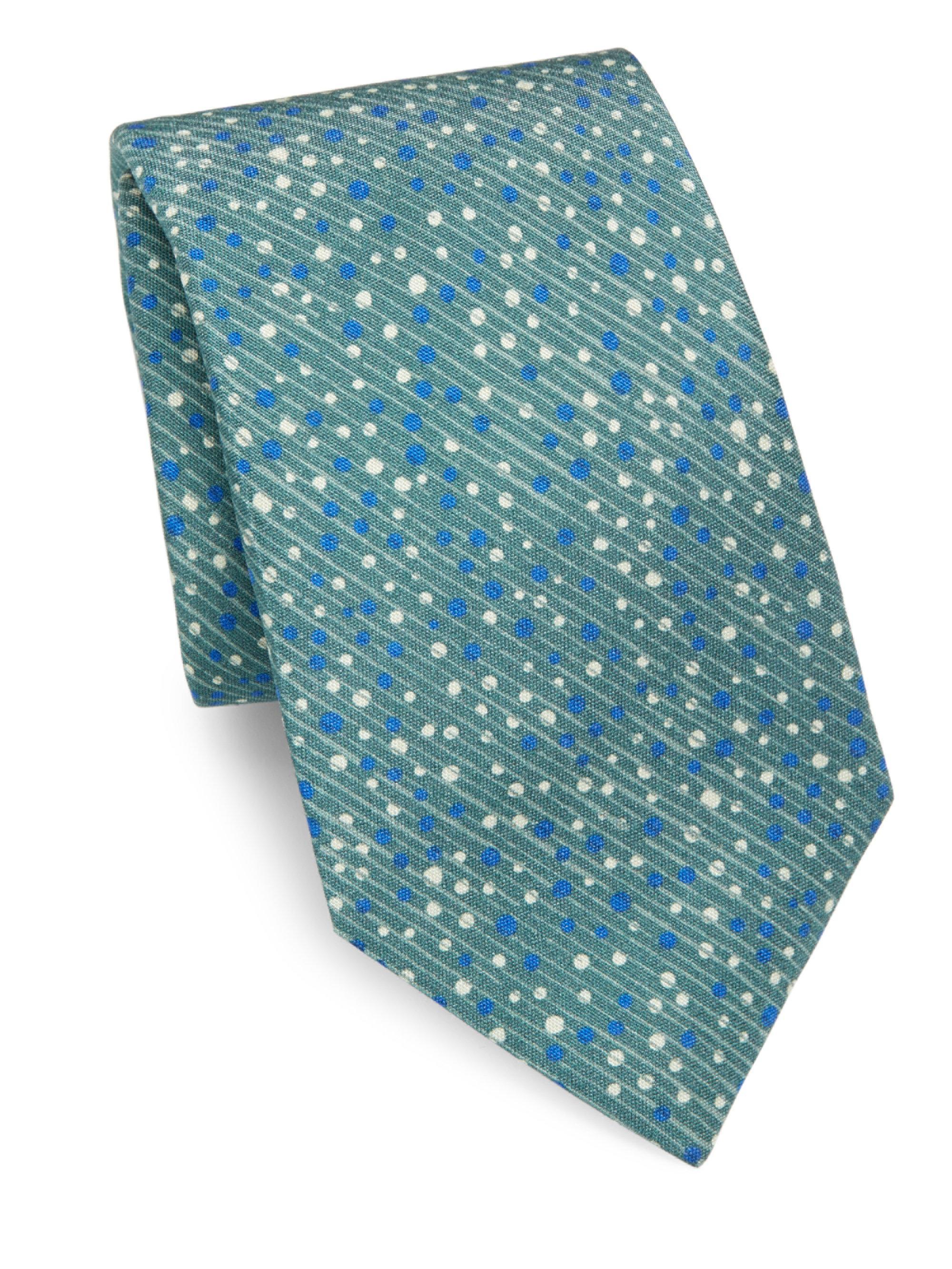 Mens Geometric-Print Silk Necktie Isaia xLQGo