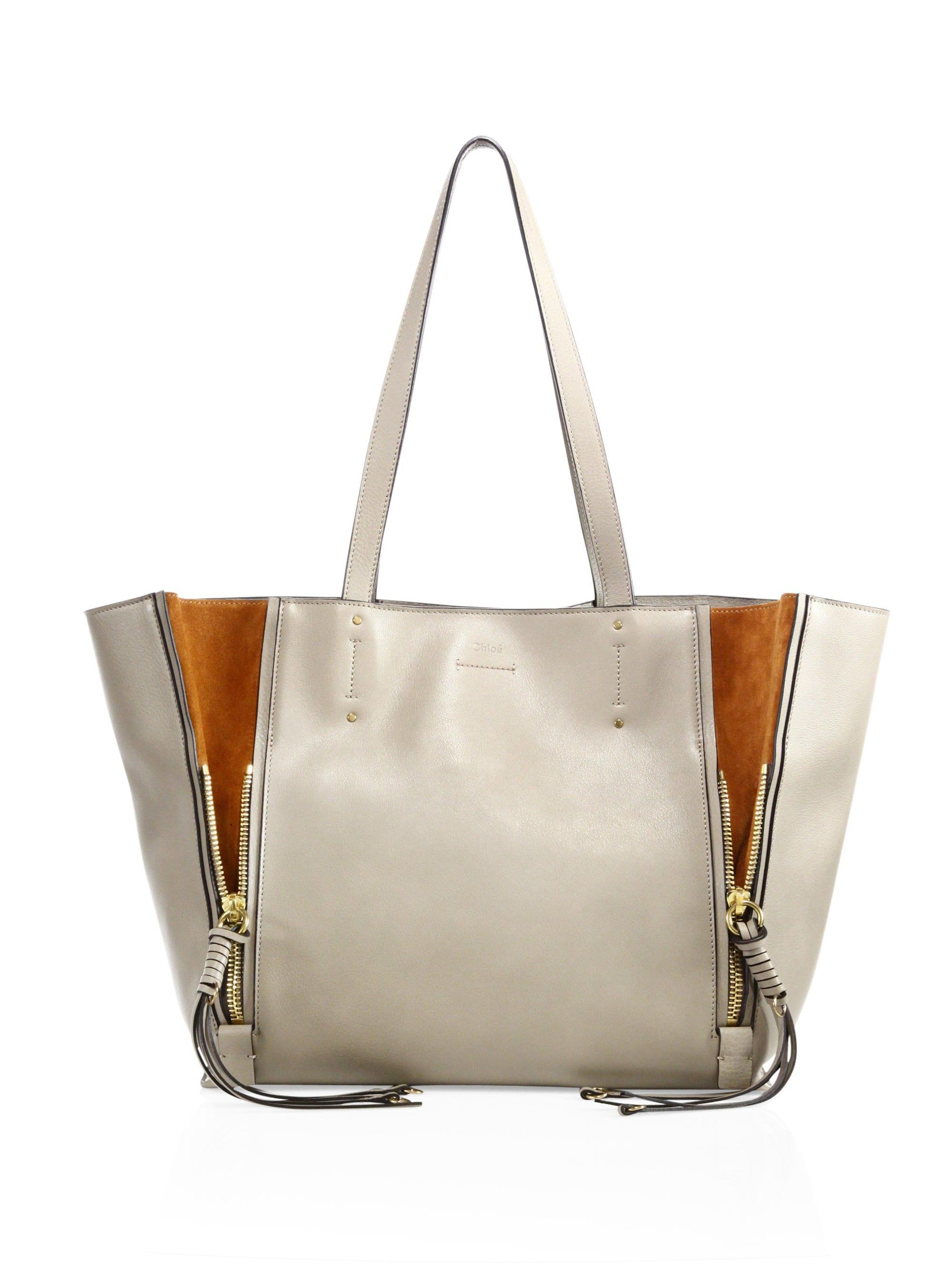 269d363d6 Lyst - Chloé Milo Leather & Suede Tote in Gray