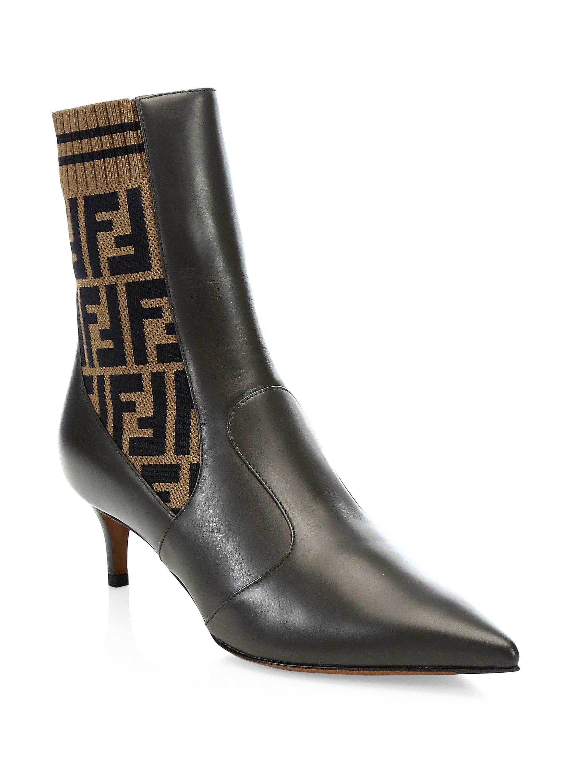 Fendi Kitten Heel Leather \u0026 Knit