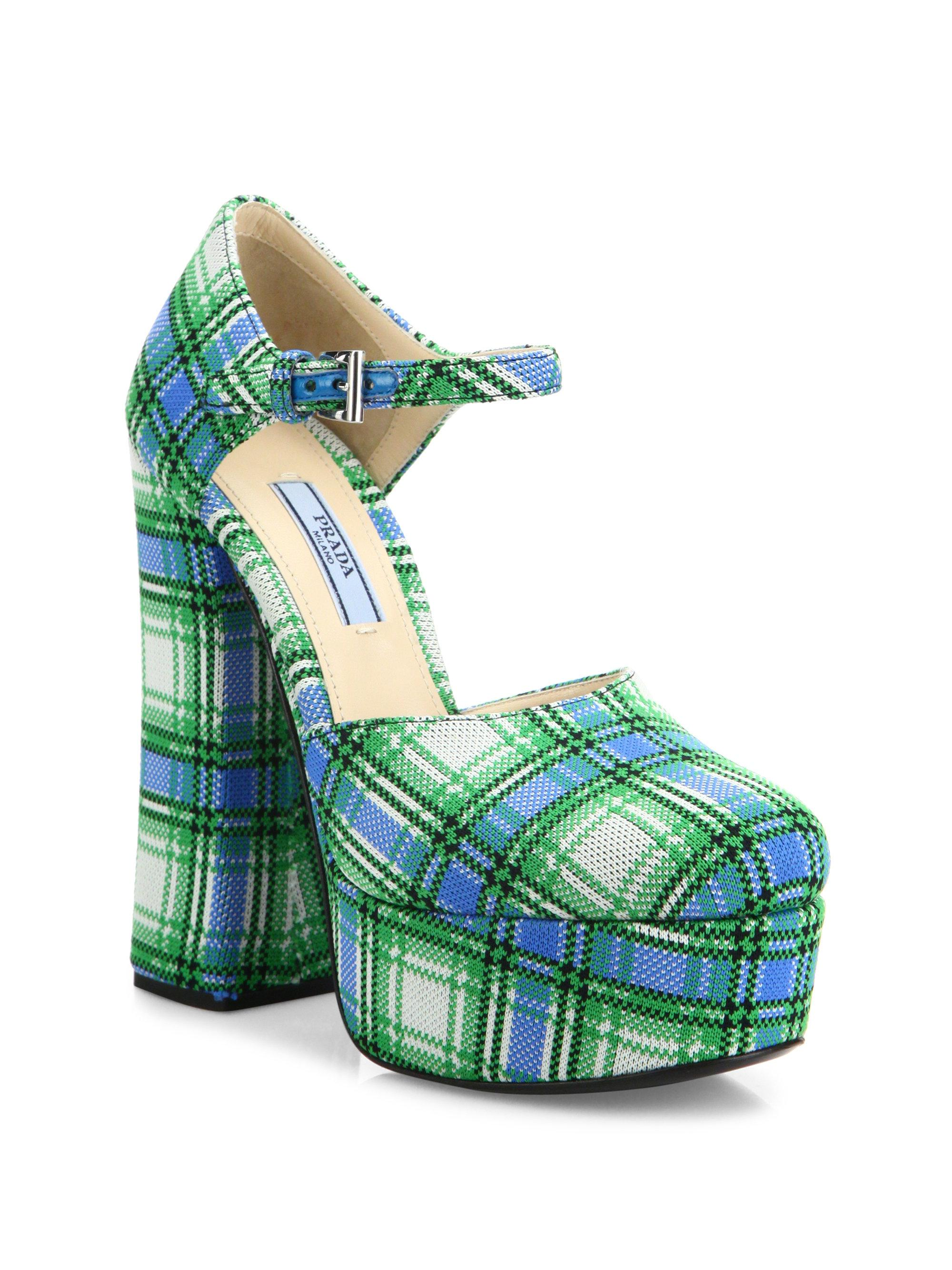3eb89a6837e9 Lyst - Prada Plaid Ankle-strap Platform Pumps in Green