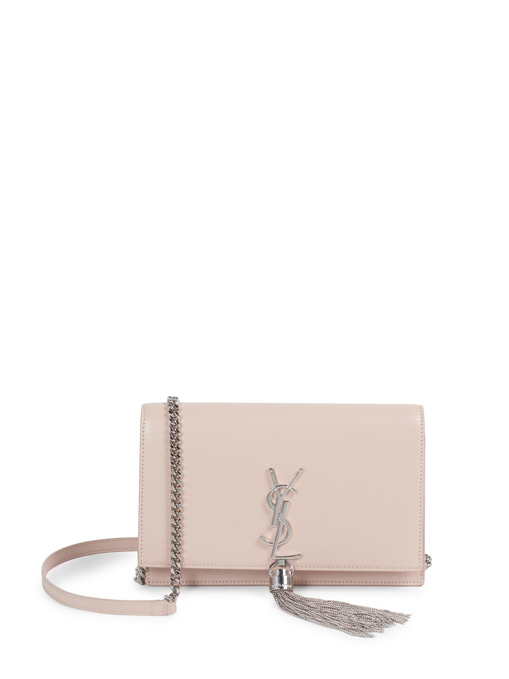 Lyst - Saint Laurent Kate Smooth Leather Tassel Chain Wallet in Pink 6cb2c7cc66ee9