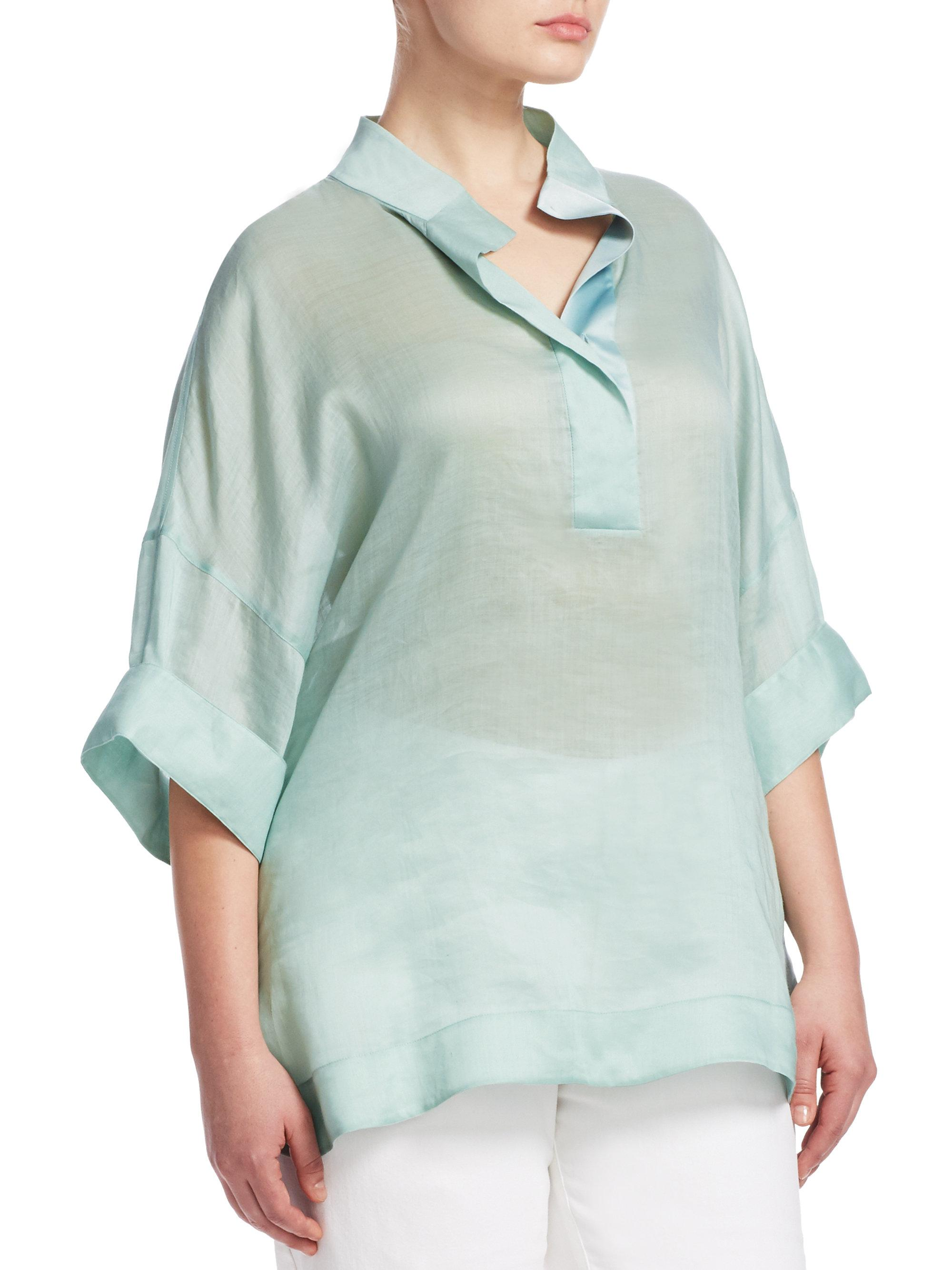 adff1458a62 Lafayette 148 New York Silvia Blouse in Blue - Lyst