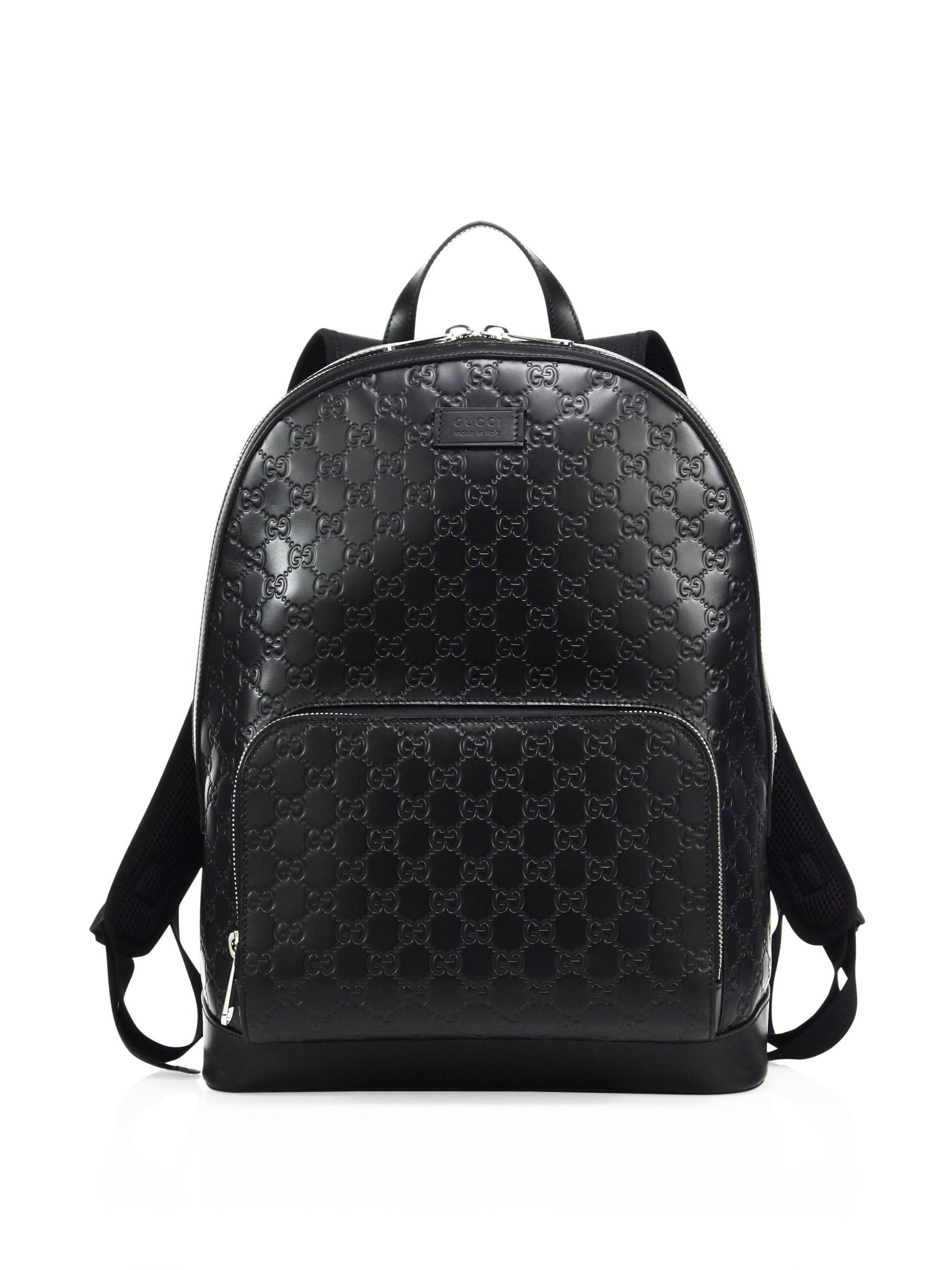 81d7953fd117 Gucci Signature Embossed Leather Backpack in Black for Men - Lyst