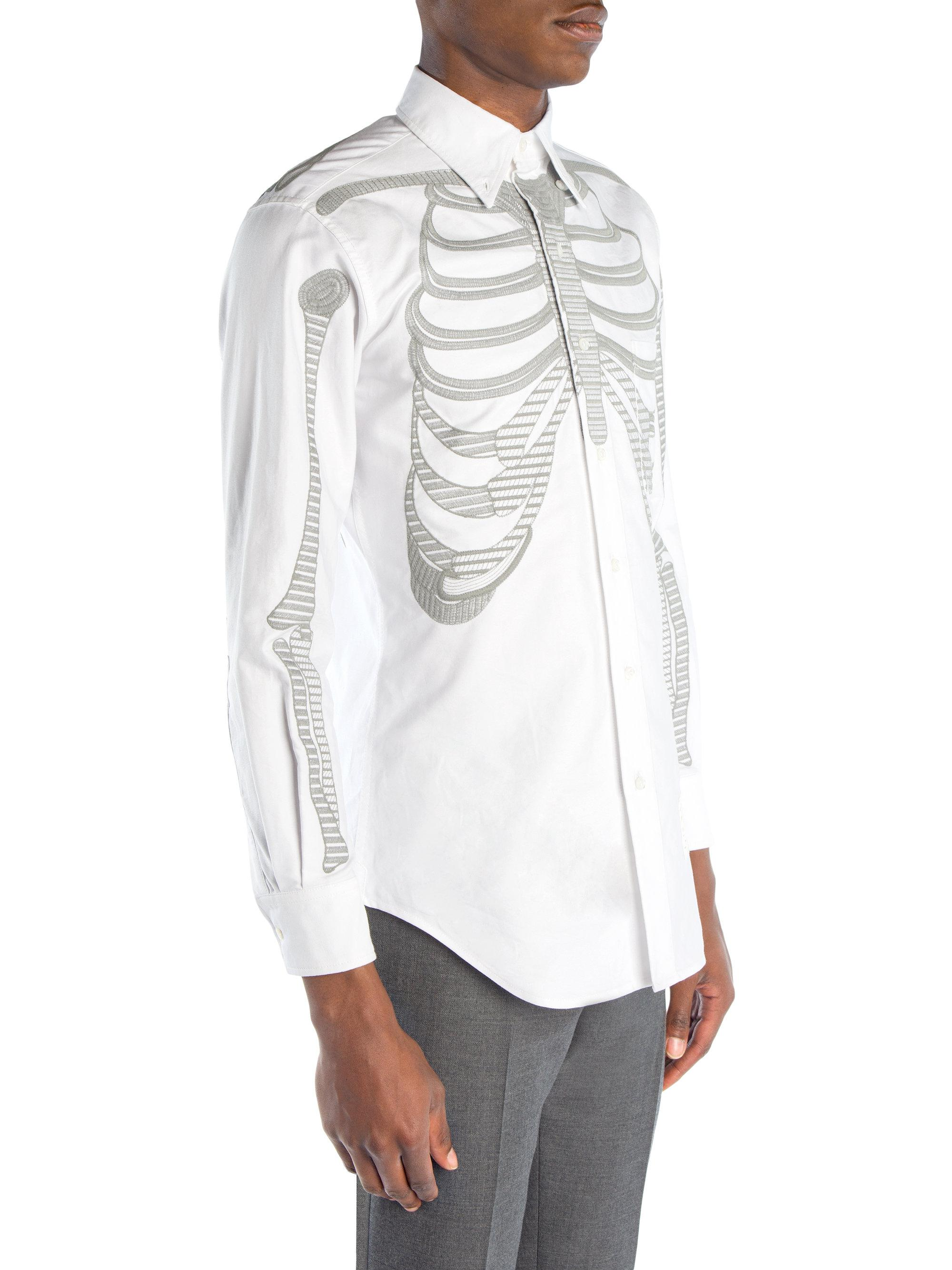 735914c1729b Lyst - Thom Browne Embroidered Skeleton Button-down Shirt in White ...