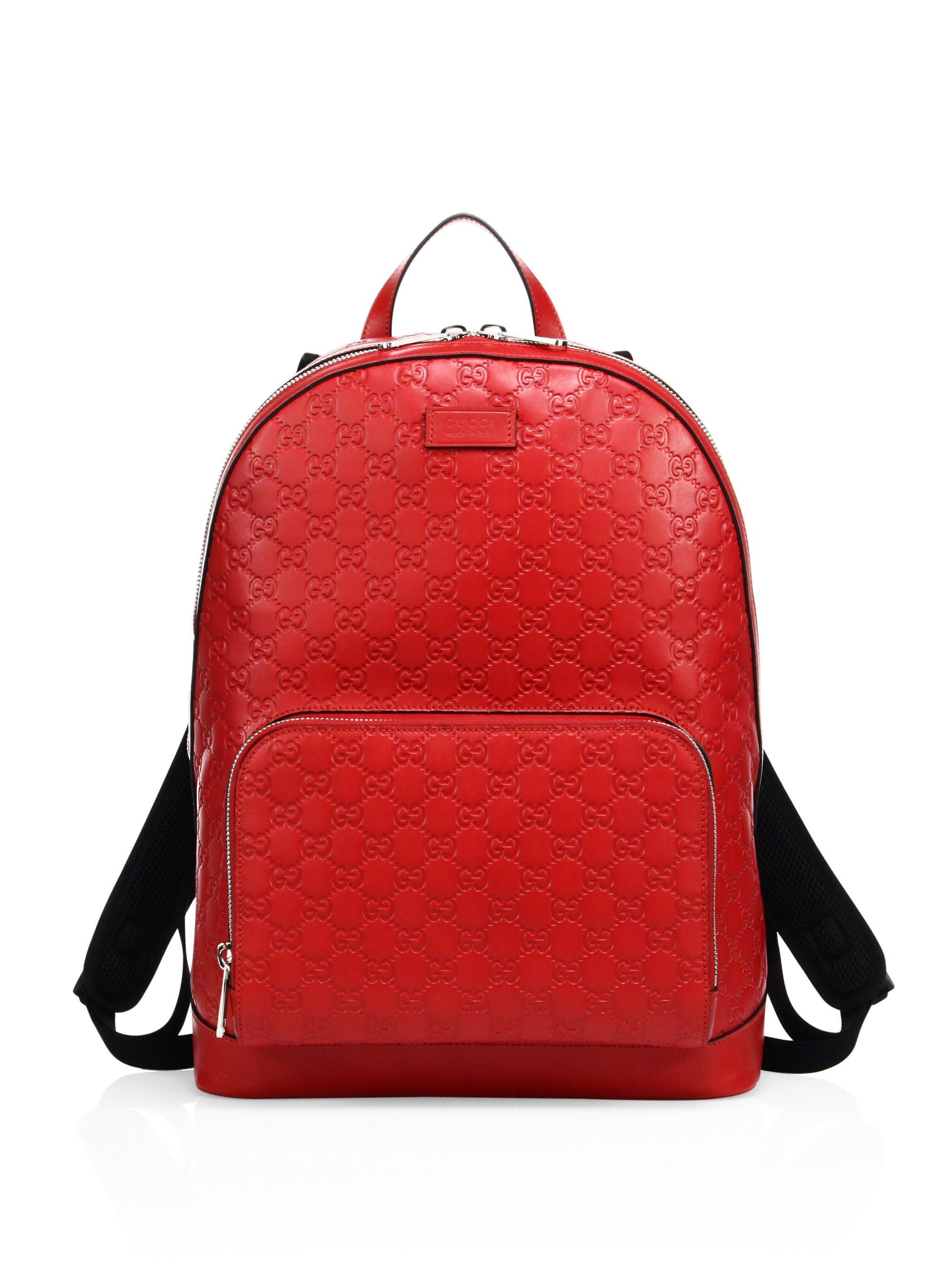 Lyst - Gucci Men s Signature Embossed Leather Backpack - Black in ... 5430cd3f407e4