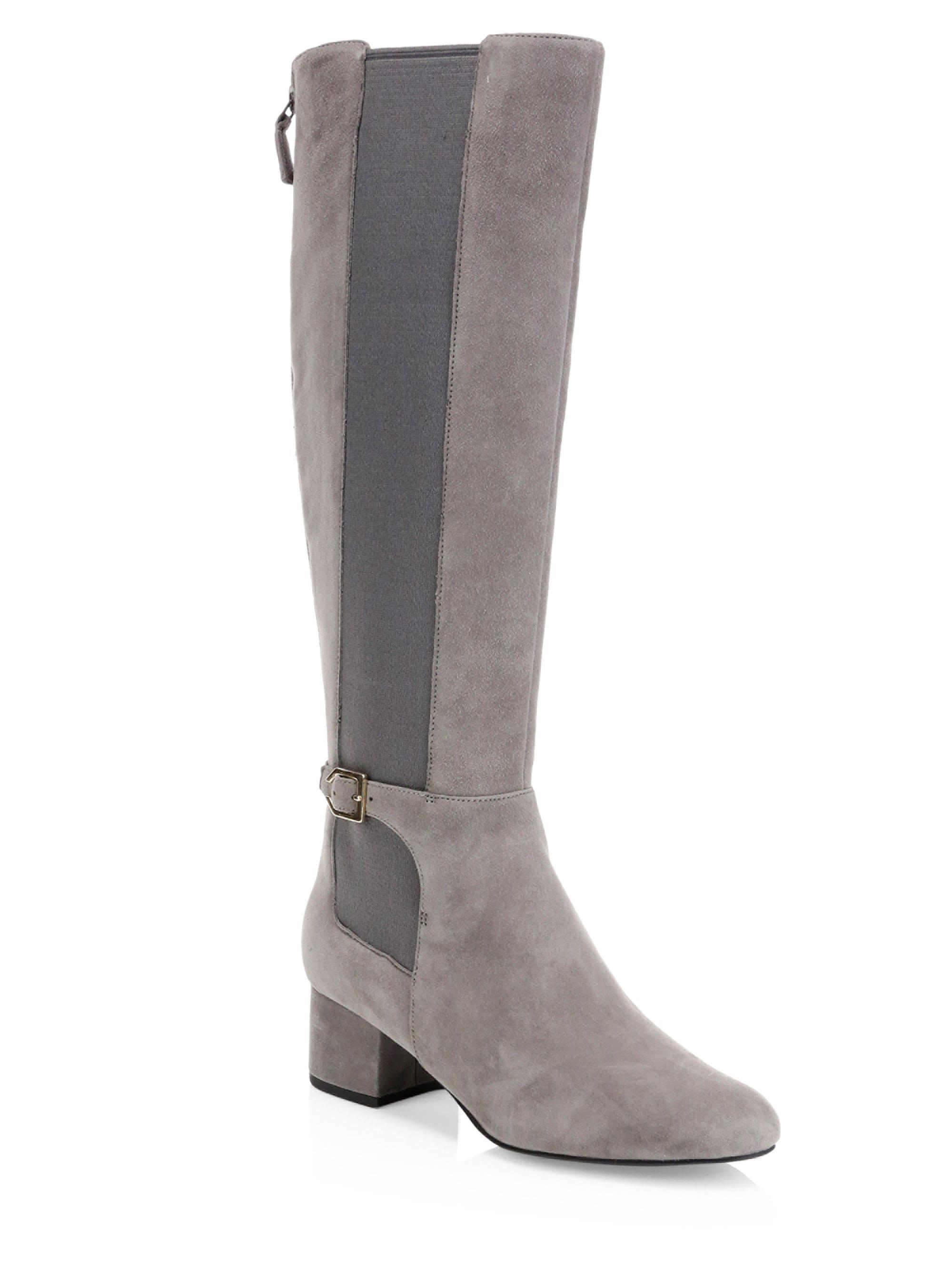 a17af47c389 Cole Haan Avani Leather Stretch Boots in Gray - Lyst