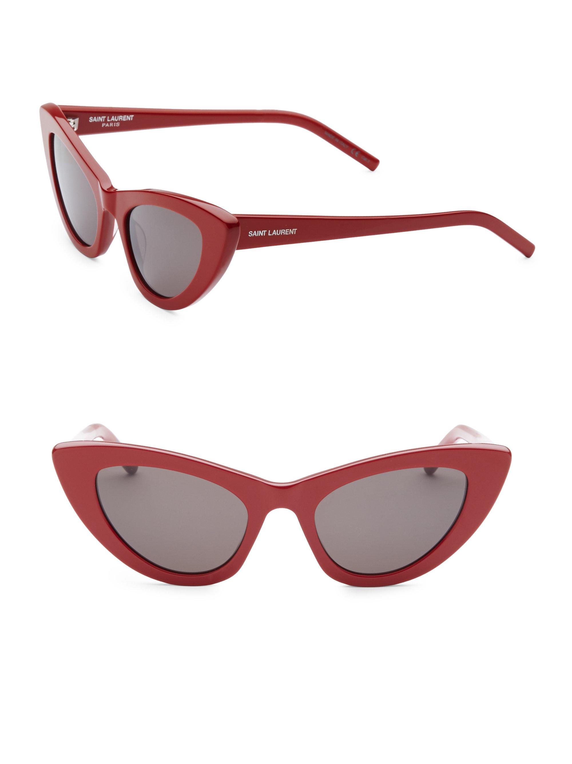 808fbdab34 Saint Laurent - 52mm Red New Wave 213 Lily Sunglasses - Lyst. View  fullscreen