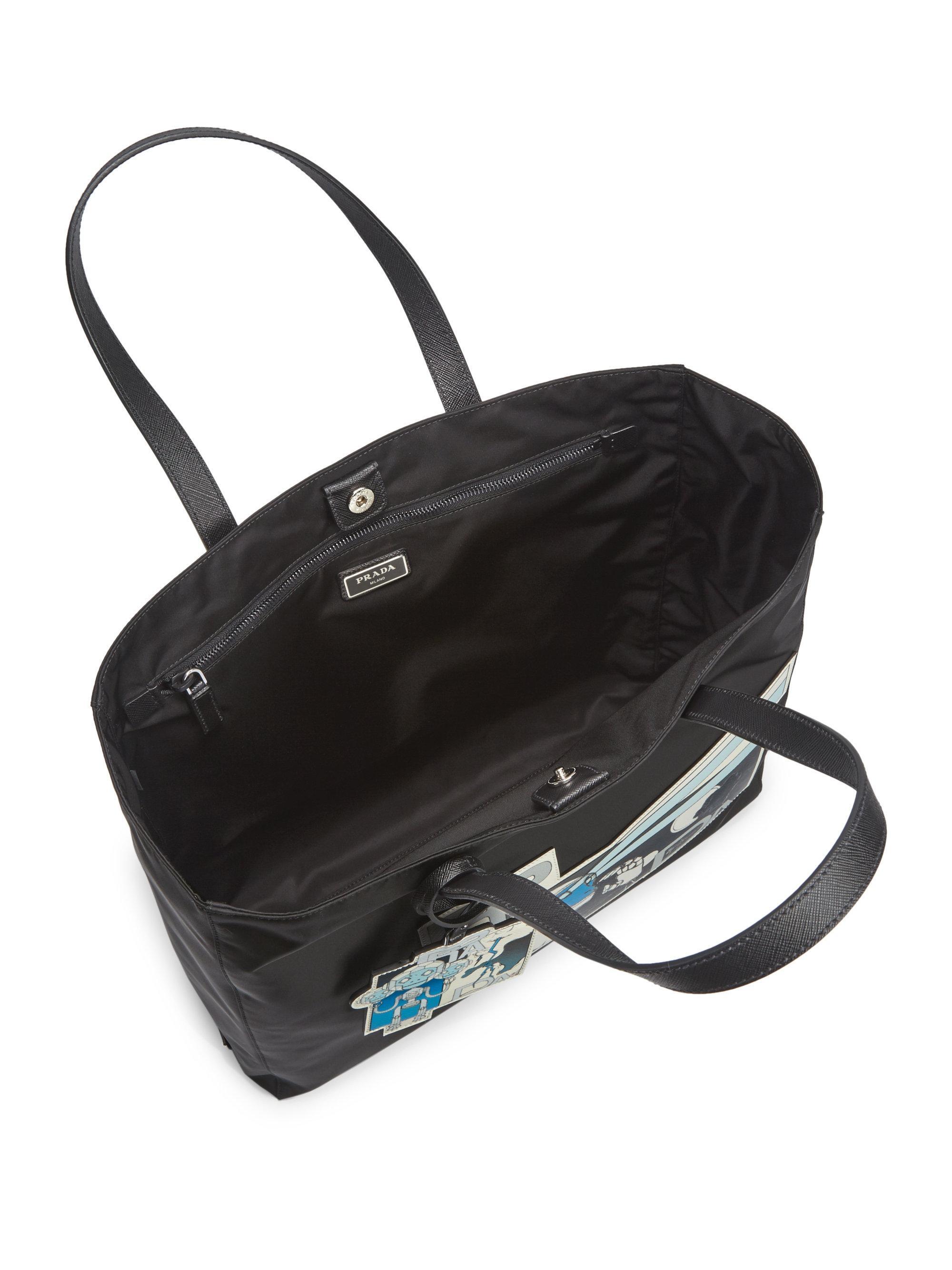 bb033e2e90dc ... switzerland lyst prada graphic tote bag in black for men e72b7 0aa58