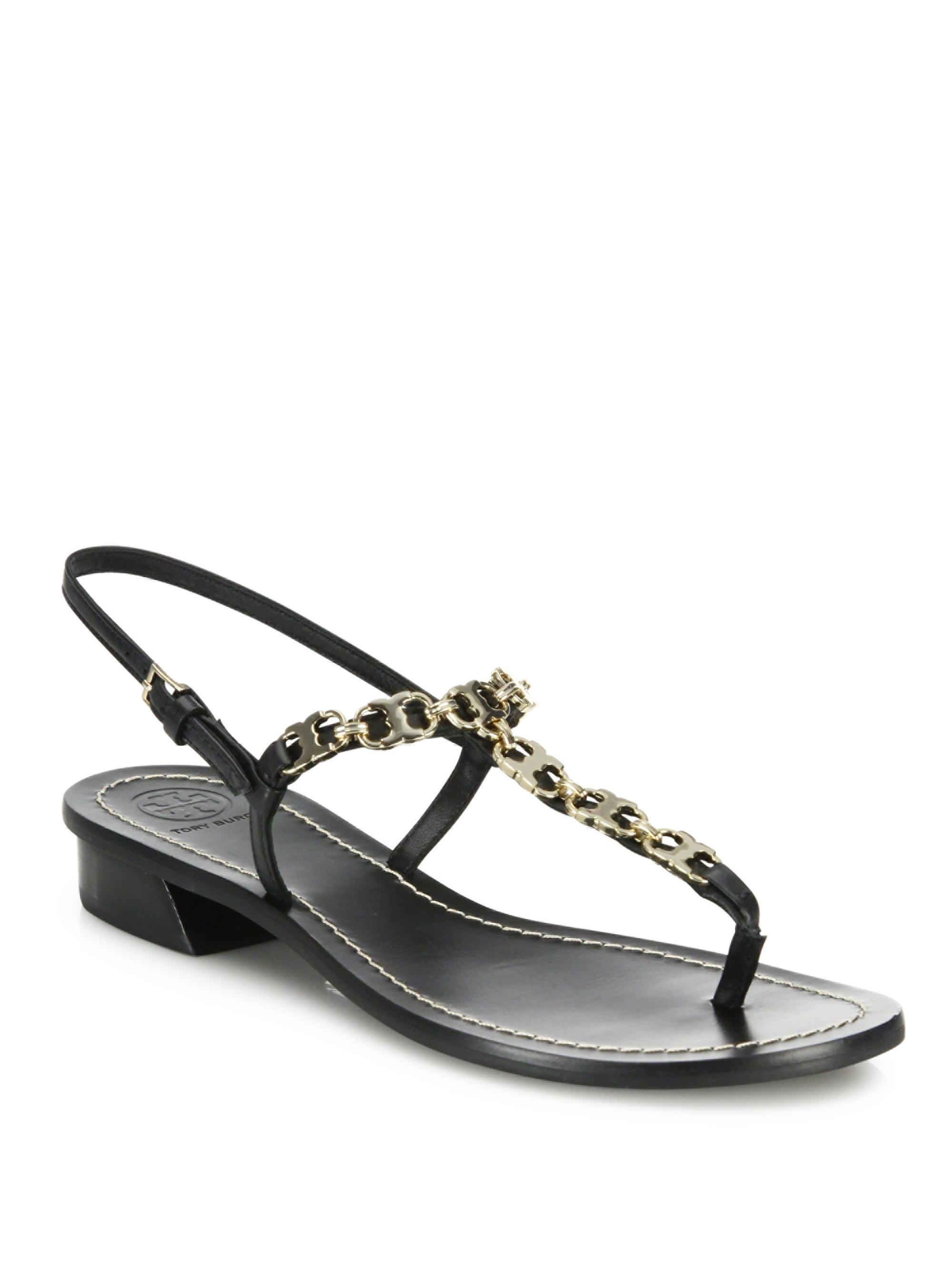 a885b5e9ef0c Lyst - Tory Burch Gemini Link Embellished T-strap Sandals in Black