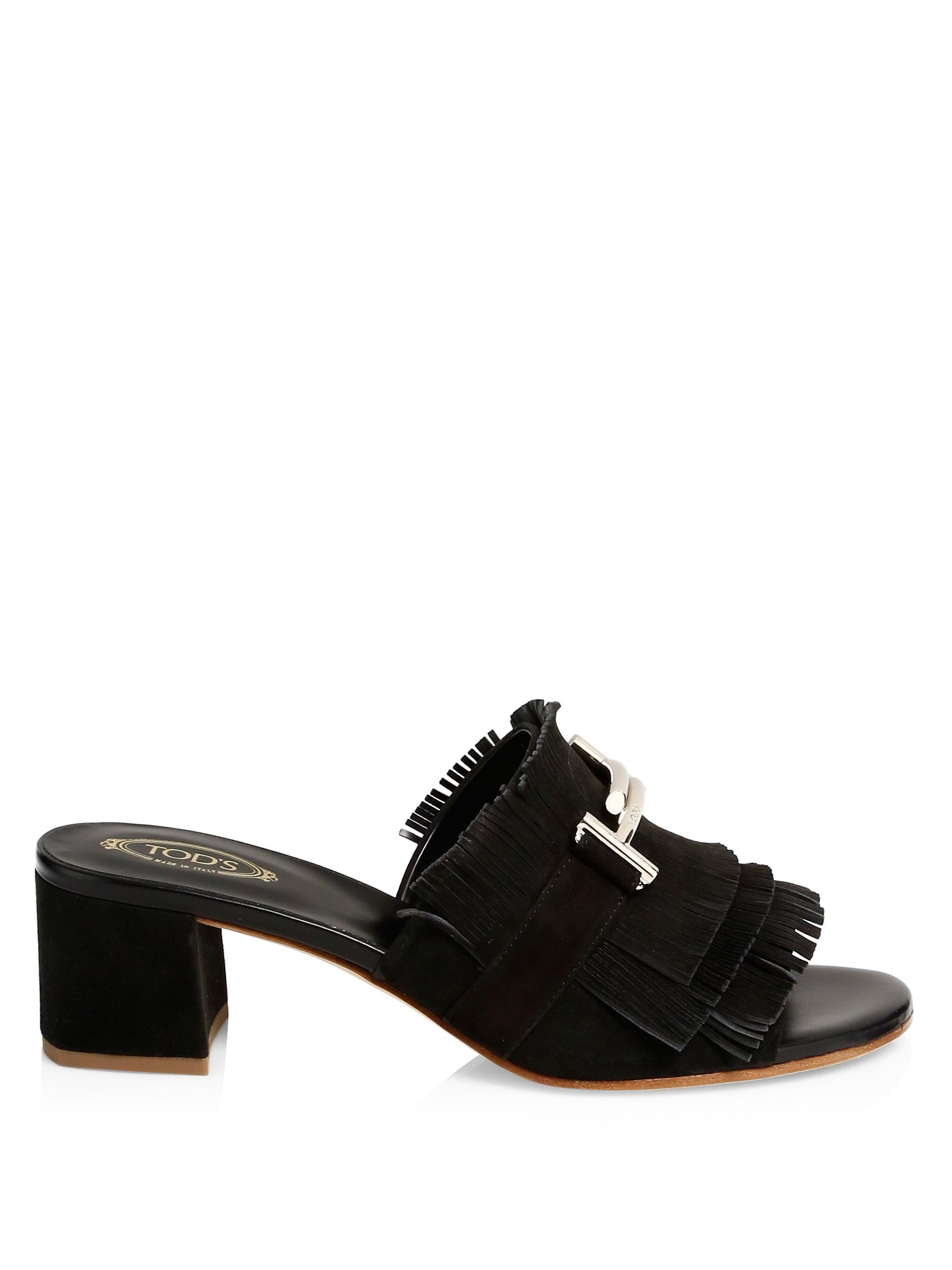 Fringed T-bar leather slides Tod's Cheap Sale With Paypal Clearance Comfortable Sale High Quality Clearance Store Sale Online Under Sale Online rFM9d