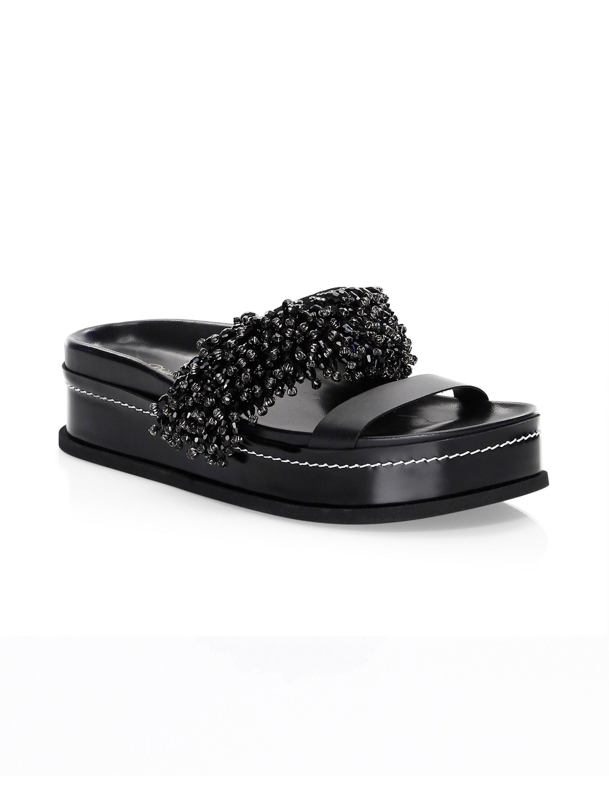 ed2feb10be9a73 ... Black Freida Beaded Platform Slides - Lyst. View fullscreen