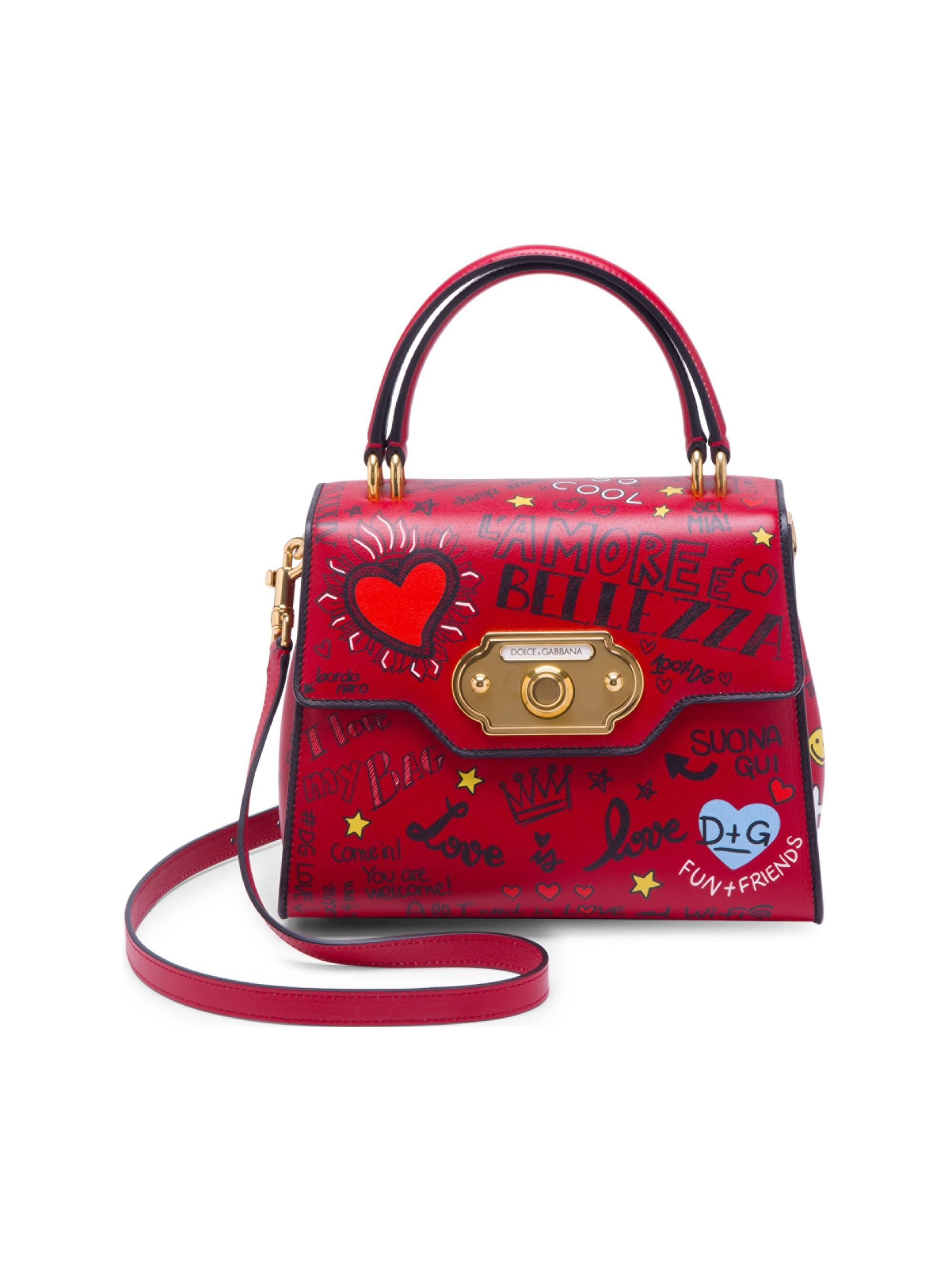 6308c09b8a17 Lyst - Dolce   Gabbana Women s Graffiti Top Handle Bag - Mural Nero ...