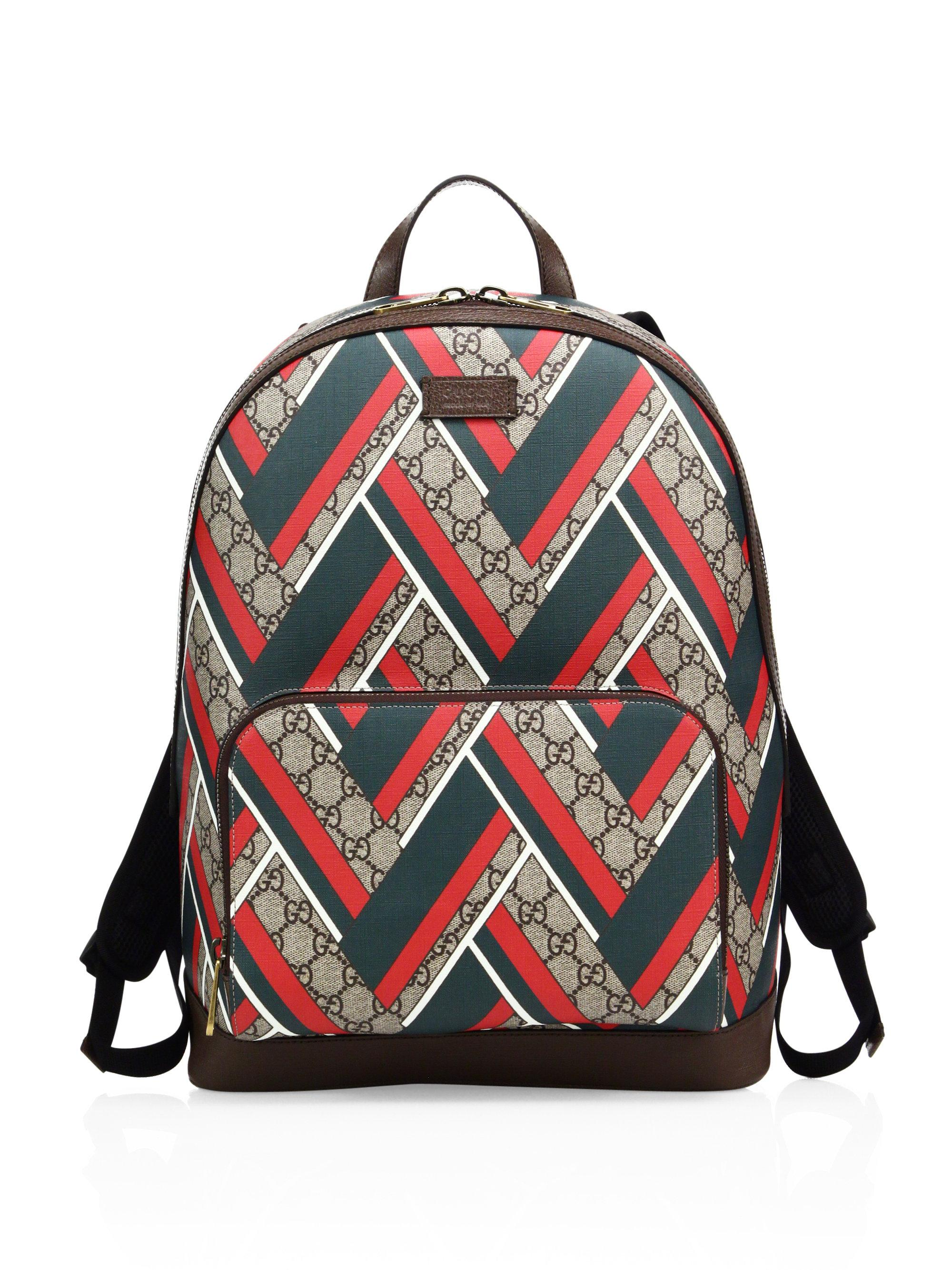 8a09bf257217 Gucci Chevron Canvas Backpack for Men - Lyst