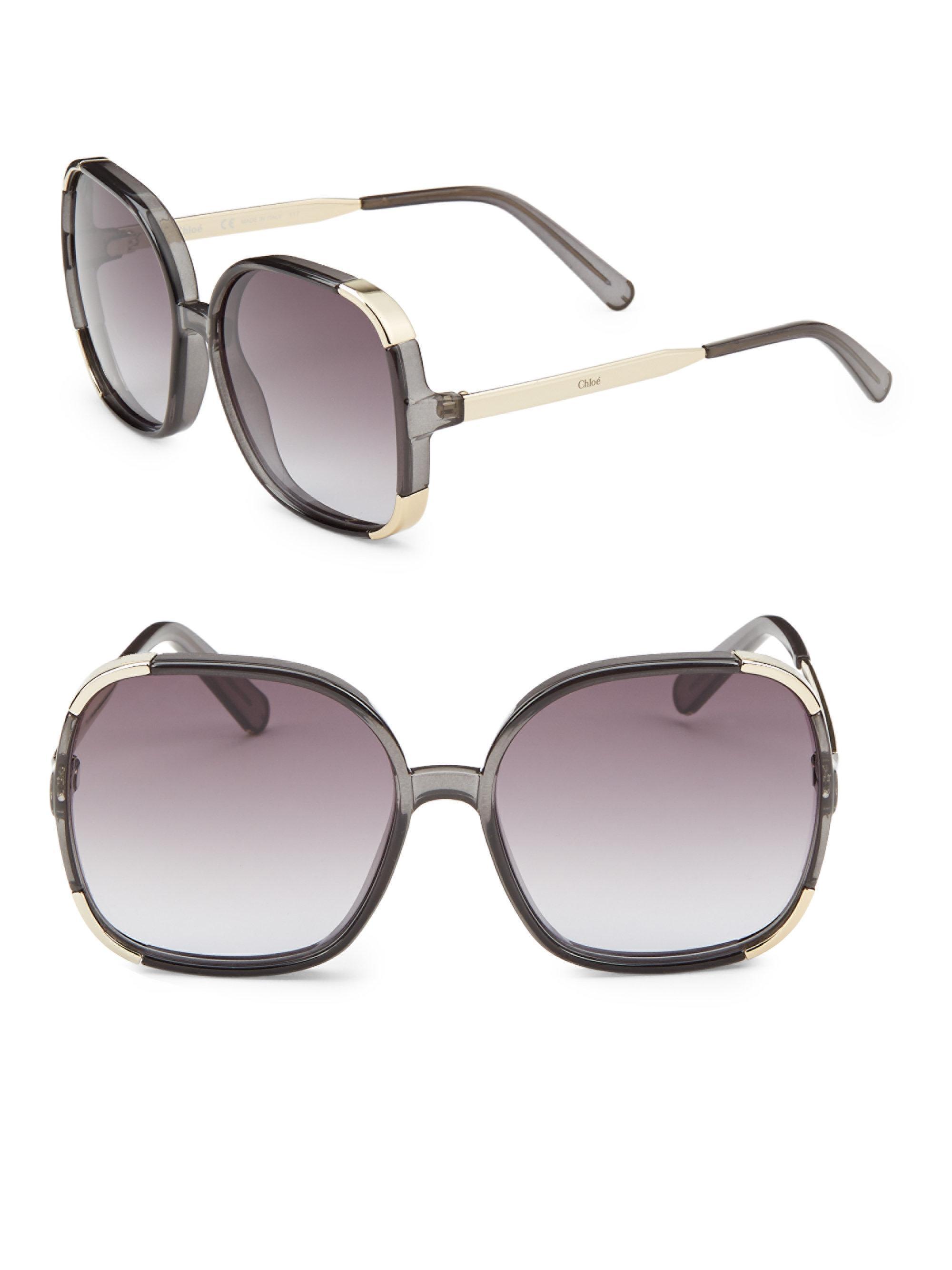 Chlo 233 Tinted 62mm Square Sunglasses In Dark Grey Gray Lyst