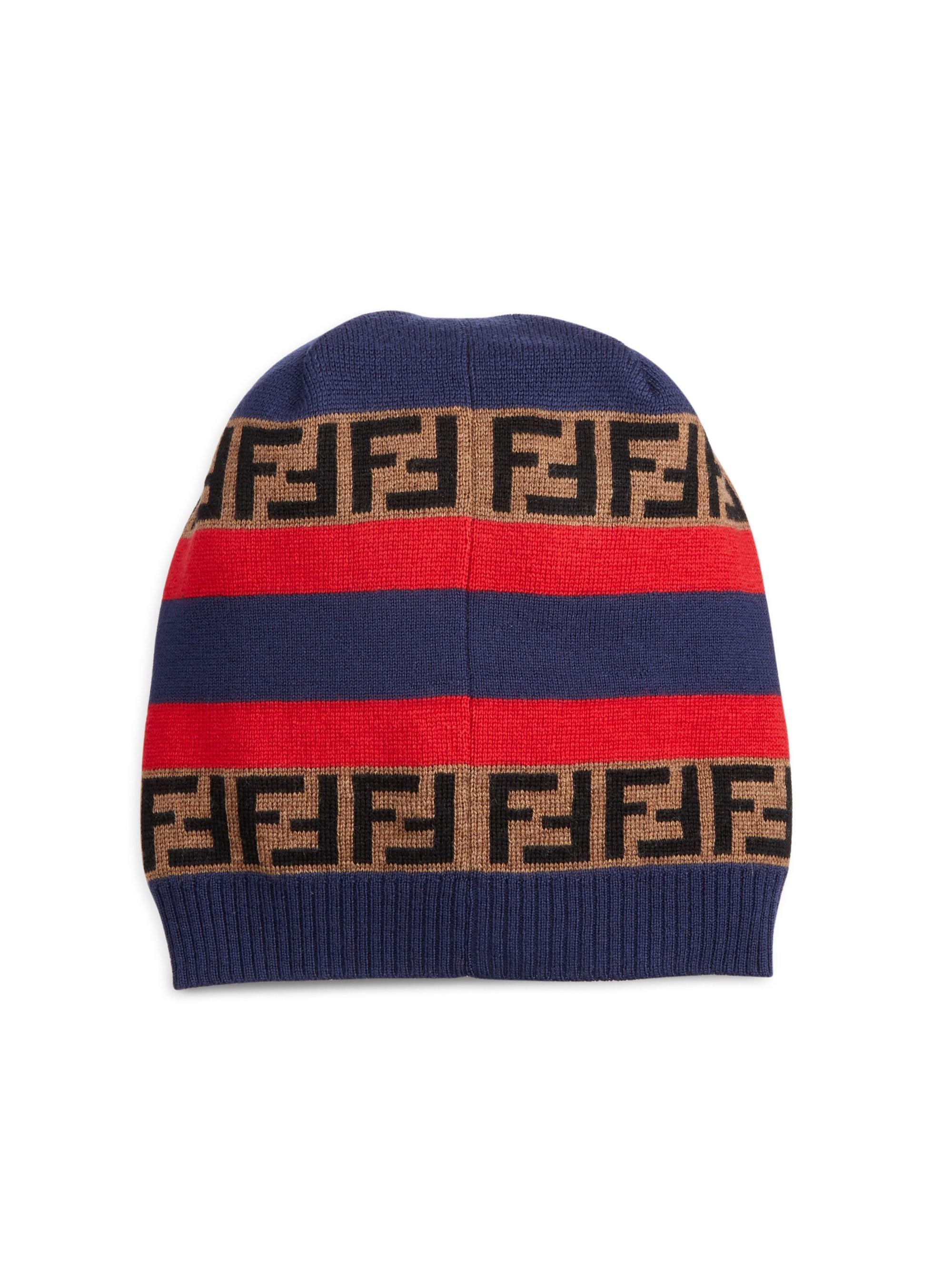 60eb62d64 Fendi Men's Knit Logo Fleece Wool Beanie - Red in Red for Men - Lyst